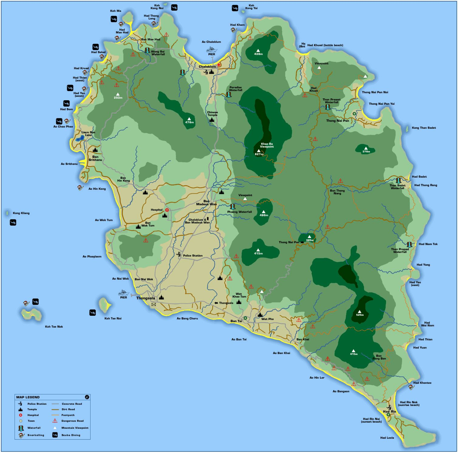 koh phangan karte Large Ko Pha Ngan Island Maps for Free Download and Print | High