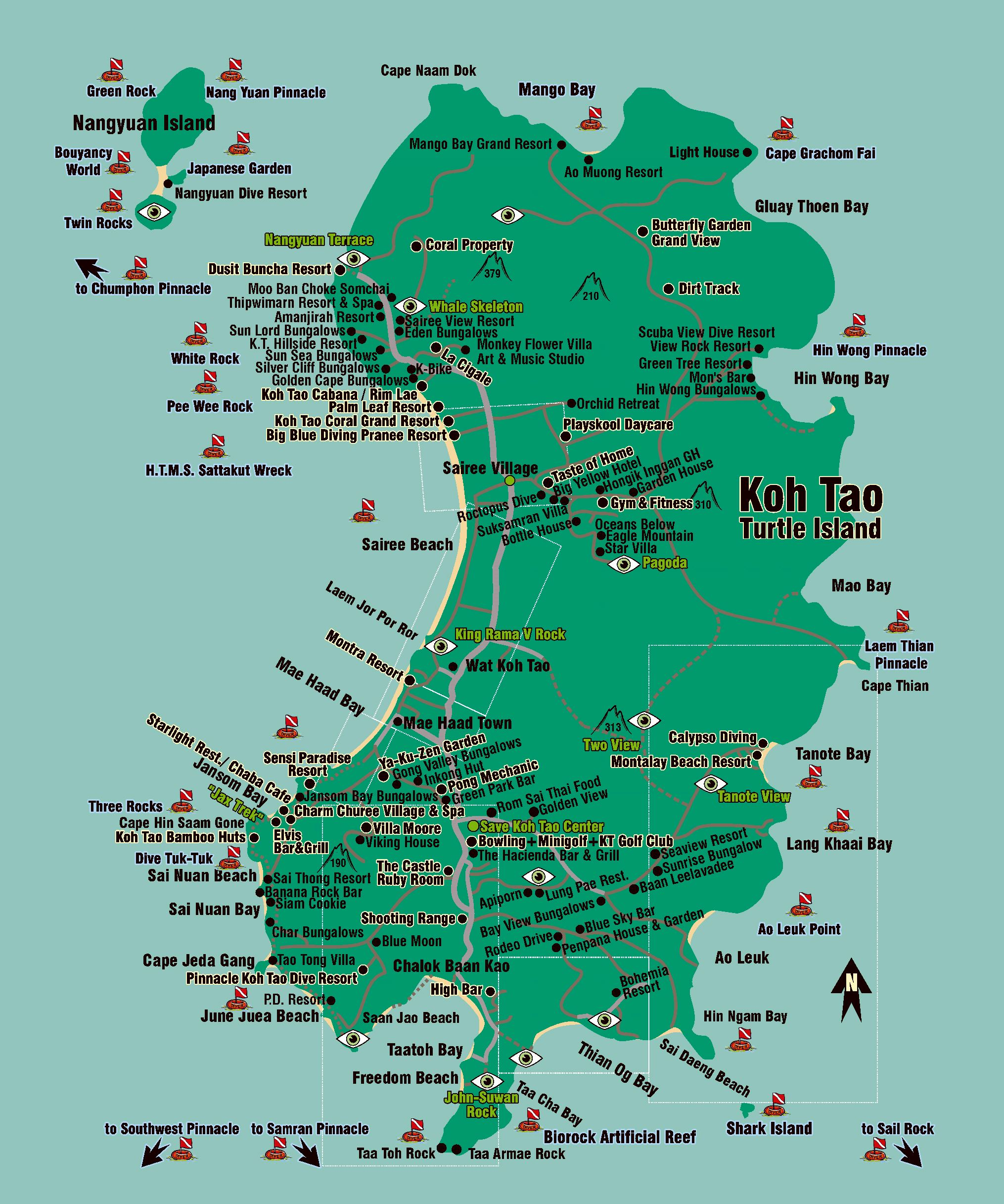 Carte Routiere Thailande A Imprimer.Cartes De Ile De Ko Tao Cartes Typographiques Detaillees