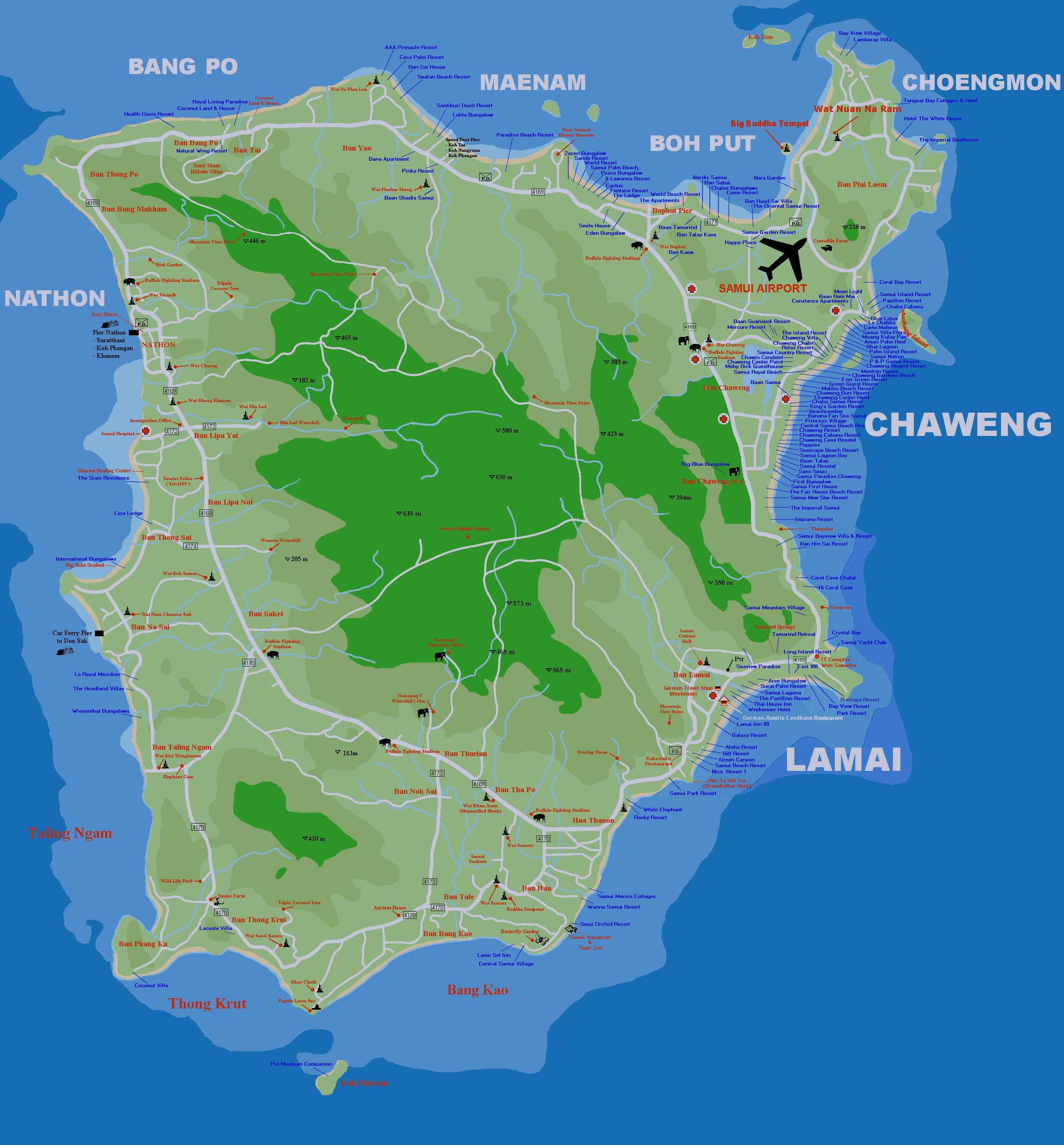 Koh Samui Map Large Ko Samui Maps for Free Download and Print | High Resolution  Koh Samui Map