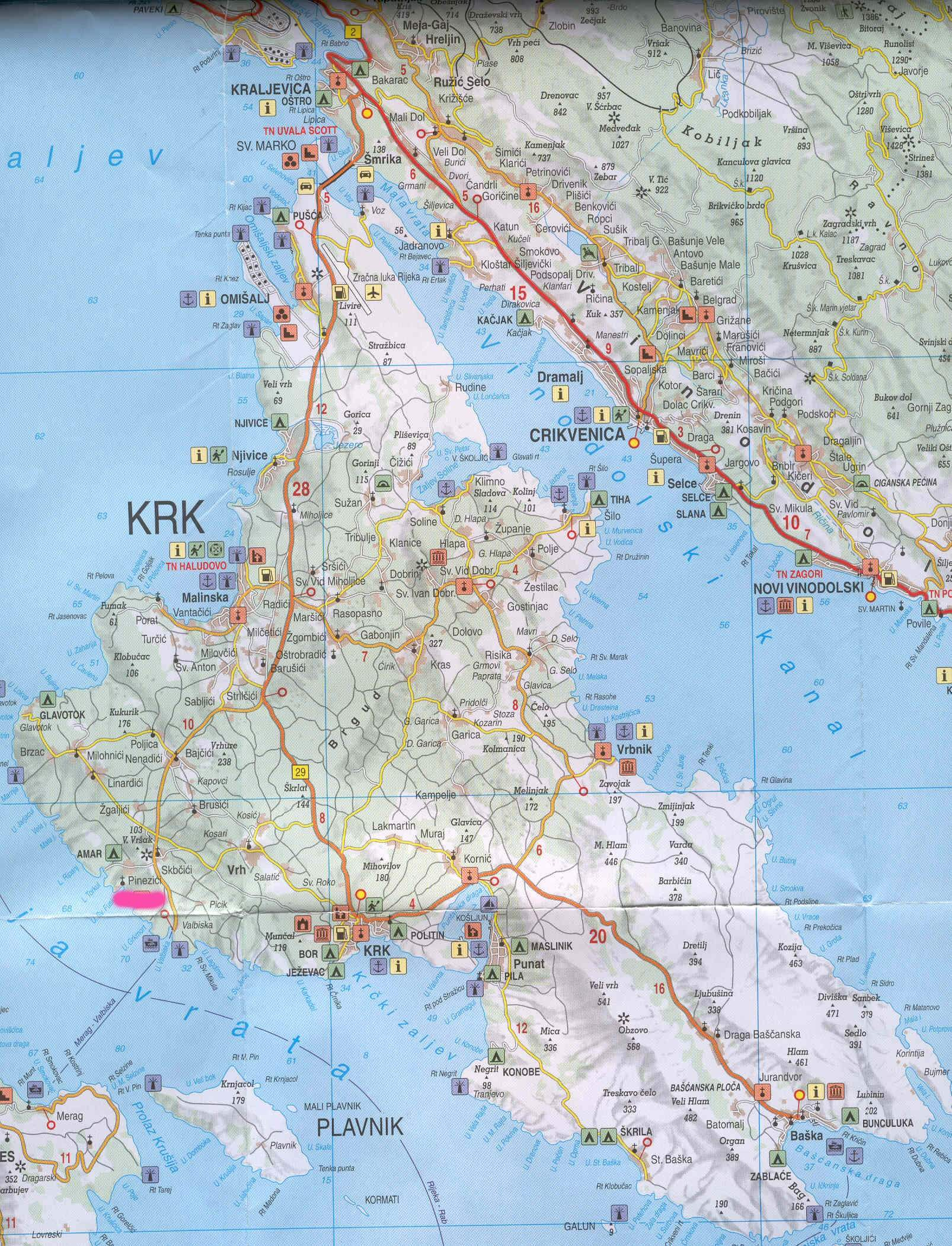 Cartina Krk.Large Krk Maps For Free Download And Print High Resolution And