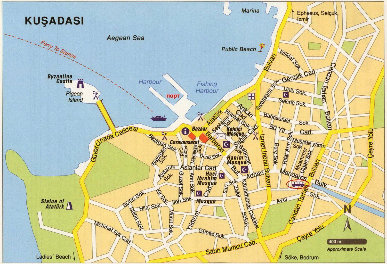 Carte Turquie Kusadasi.Cartes De Kusadasi Cartes Typographiques Detaillees De