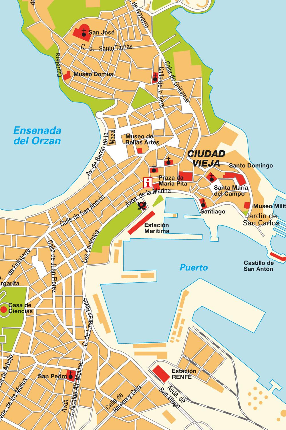 Large A Coruna Maps for Free Download and Print HighResolution