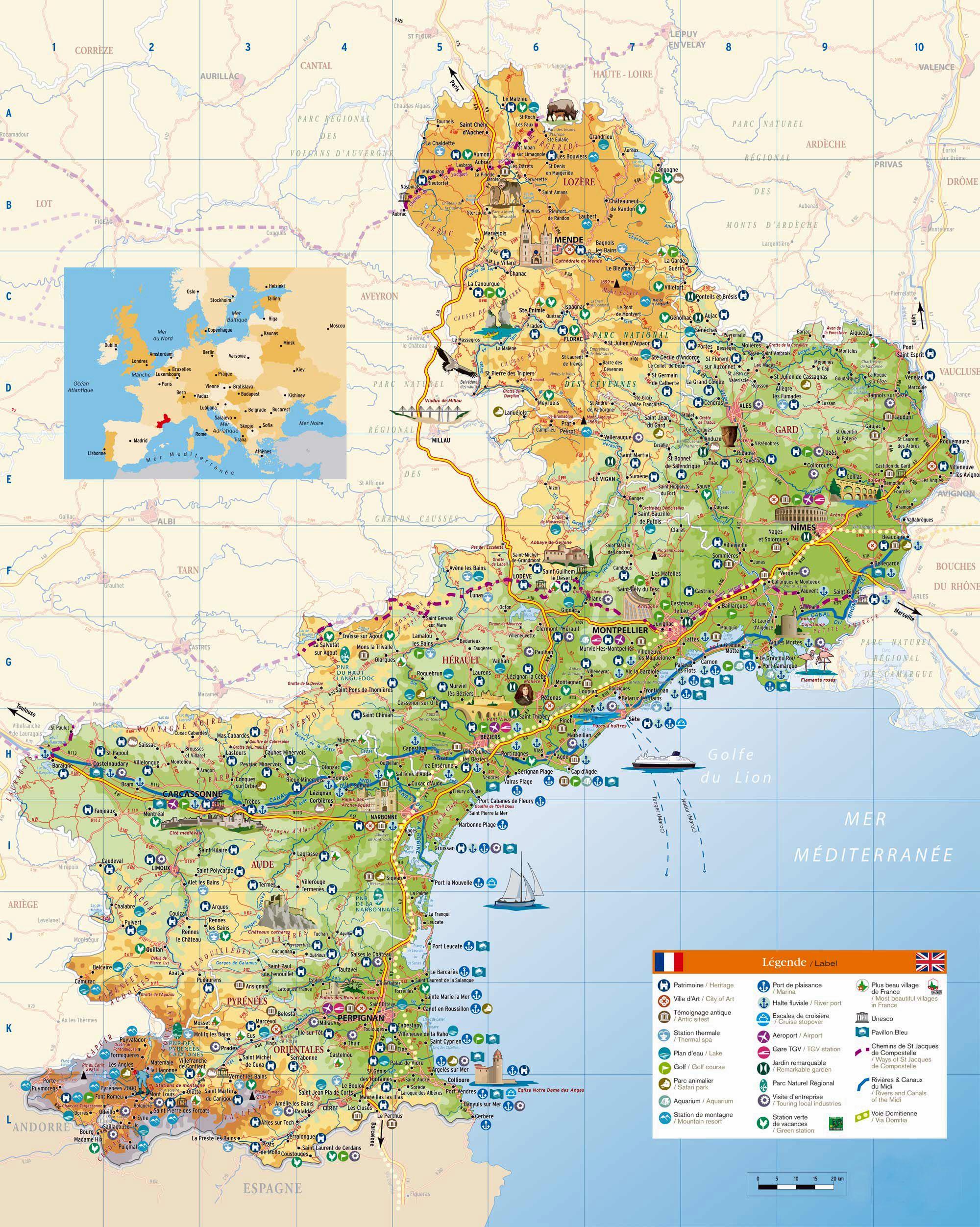 languedoc roussillon carte touristique