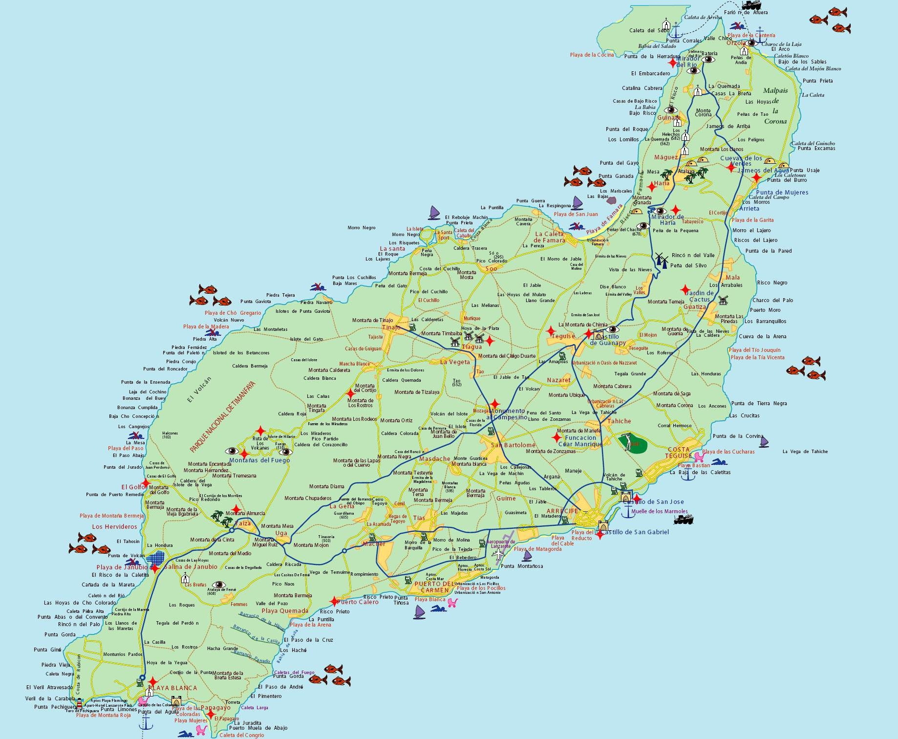 mapas detallados de lanzarote para descargar gratis e imprimir