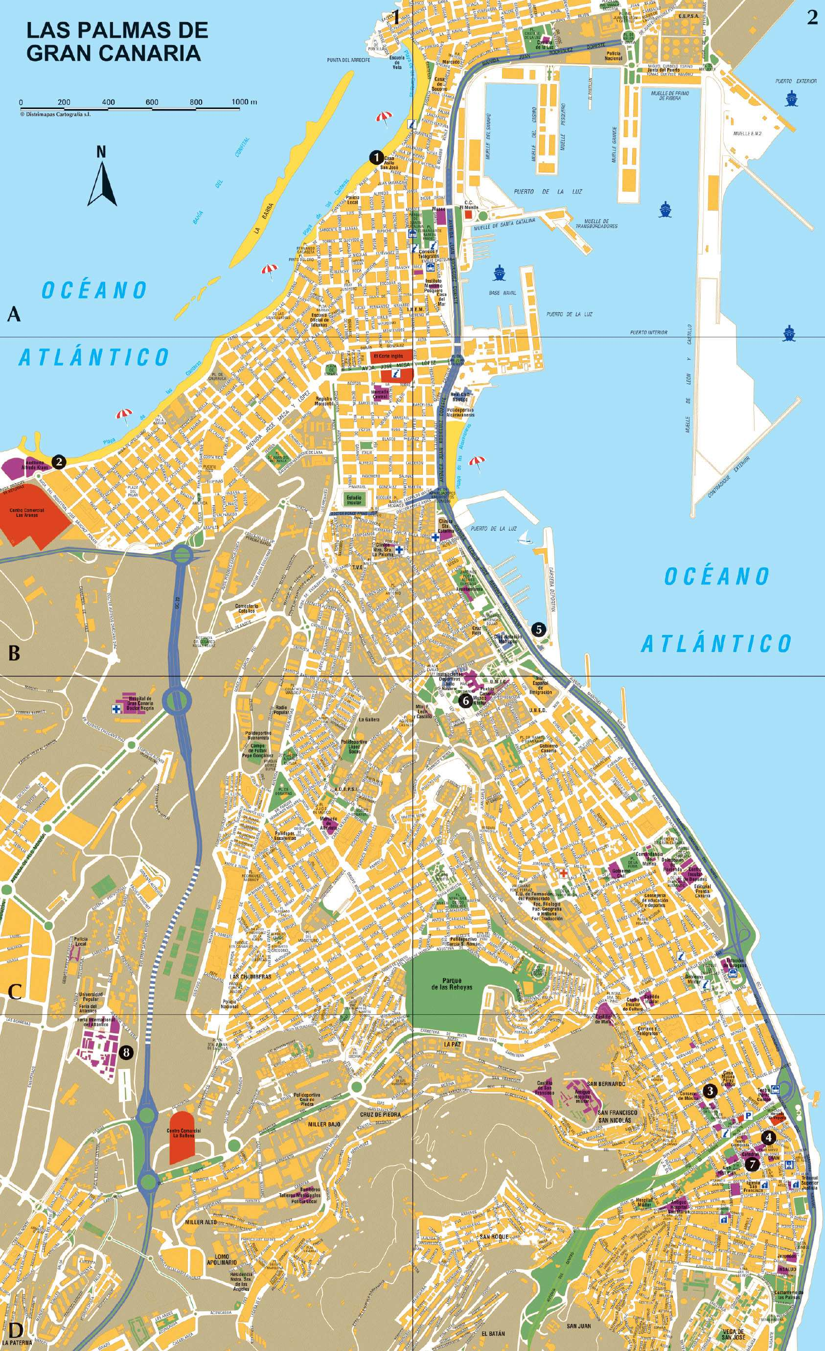 las palmas mapa Large Las Palmas Maps for Free Download and Print | High  las palmas mapa