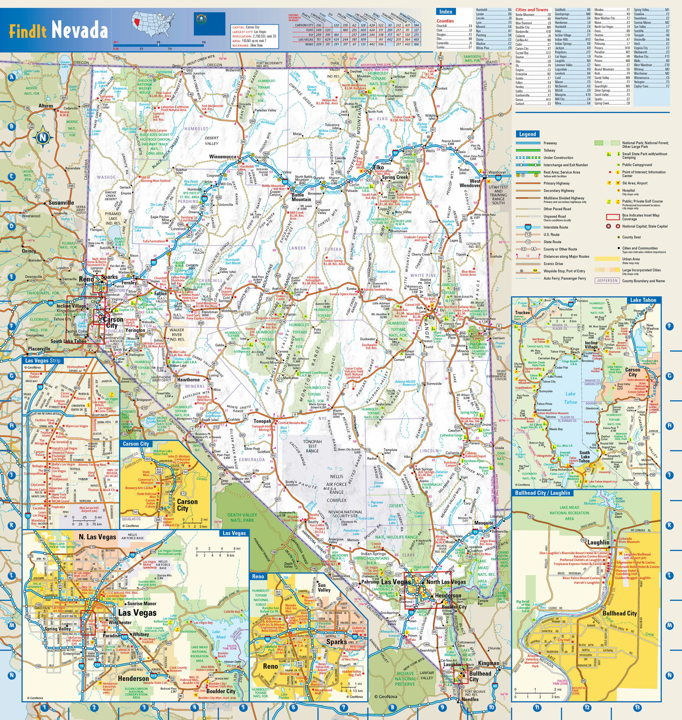 Nevada Road Map Large Nevada Maps for Free Download and Print | High Resolution