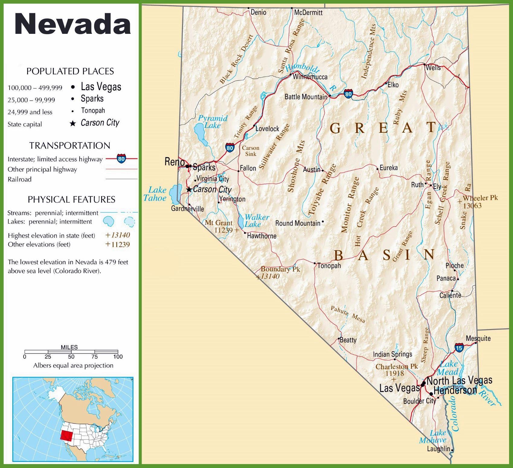 nevada karte Stadtplan von Nevada   Detaillierte gedruckte Karten von Nevada  nevada karte