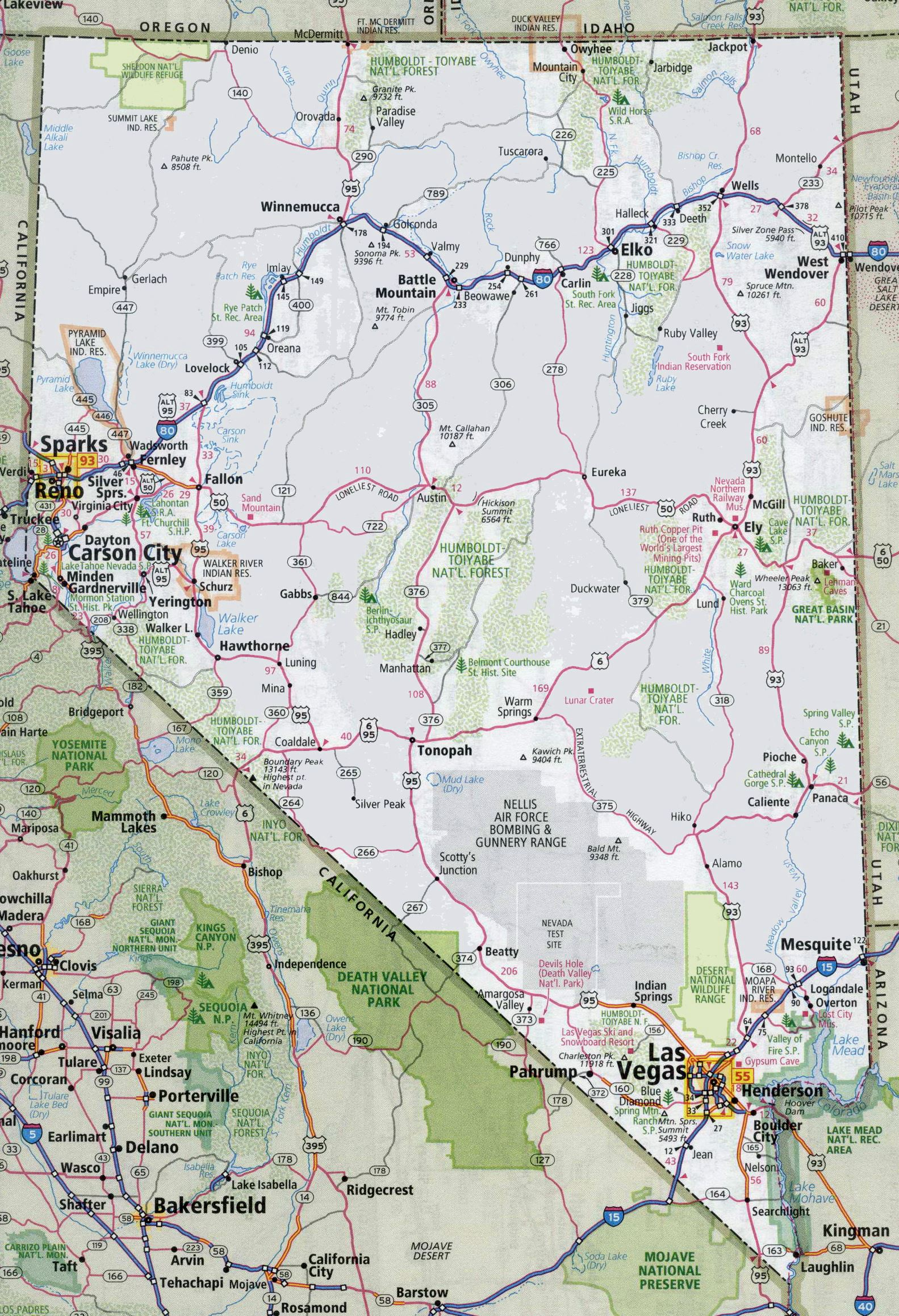 Large Nevada Maps for Free Download and Print | High-Resolution and ...