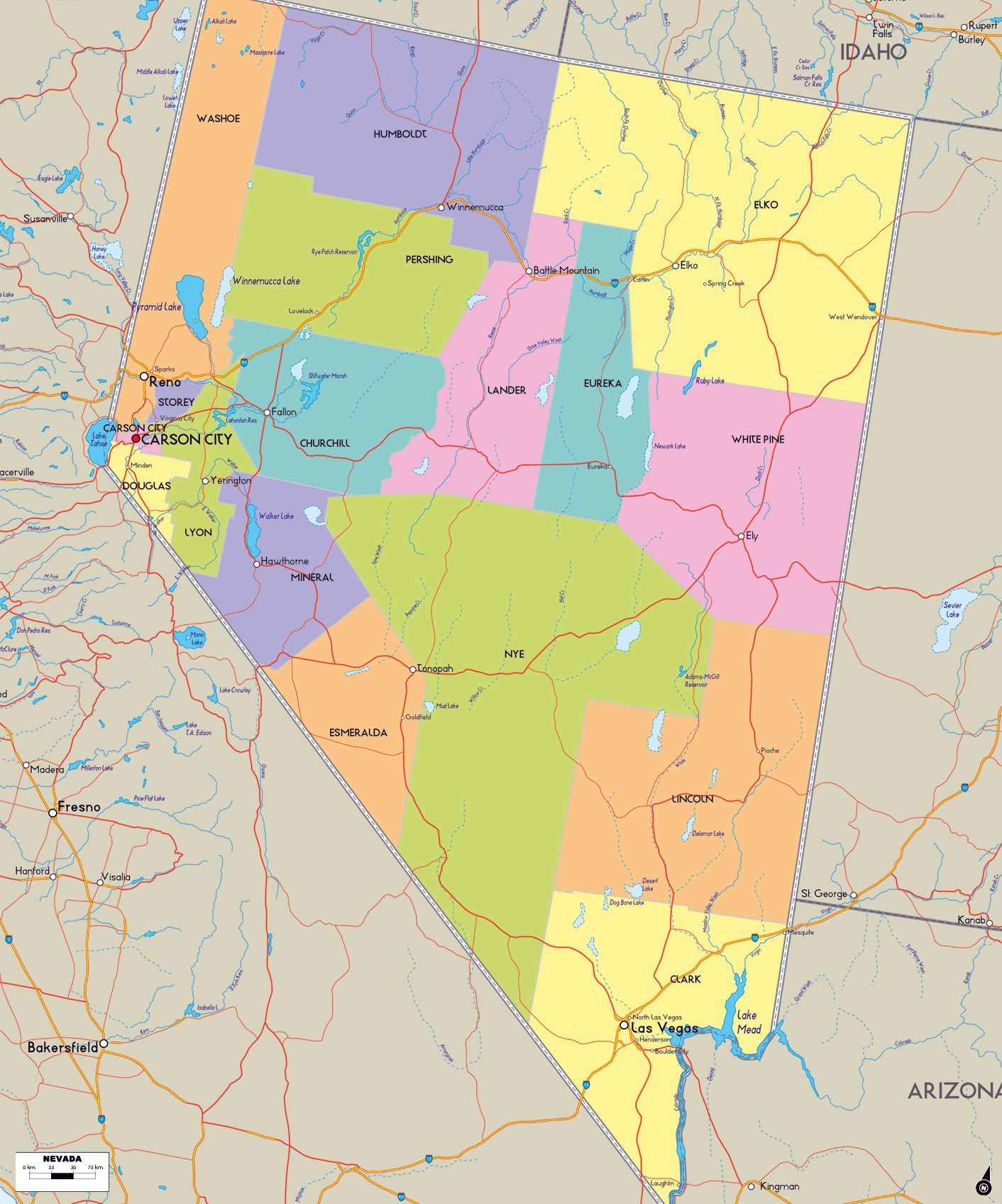 Map Of Arizona Nevada.Large Nevada Maps For Free Download And Print High Resolution And