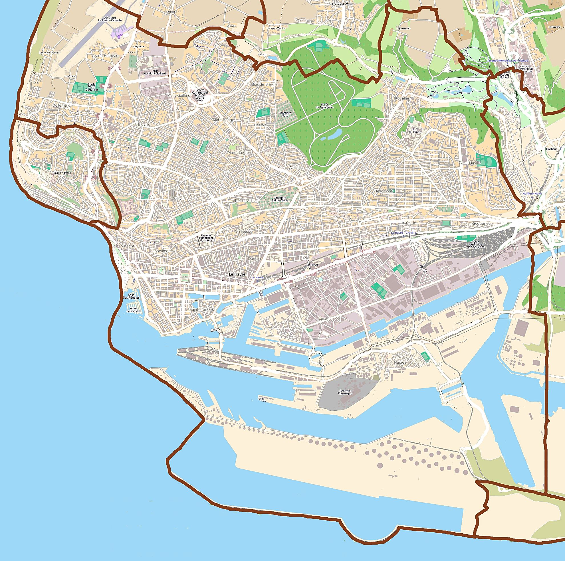 Large Le Havre Maps for Free Download and Print HighResolution