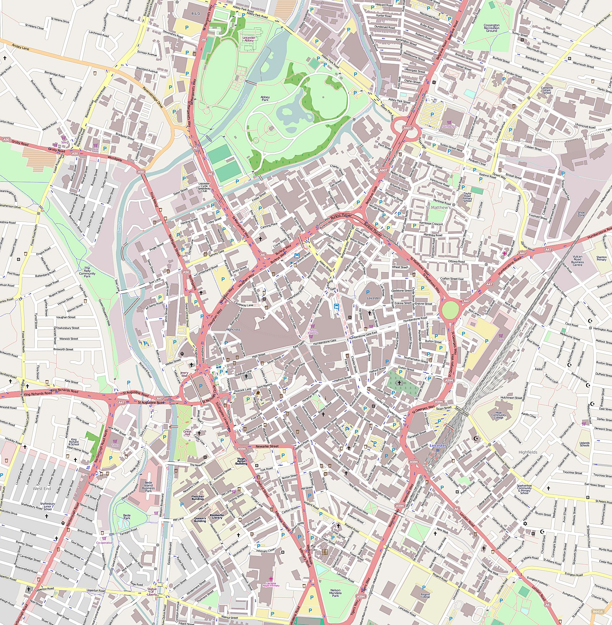 Large Leicester Maps for Free Download and Print HighResolution