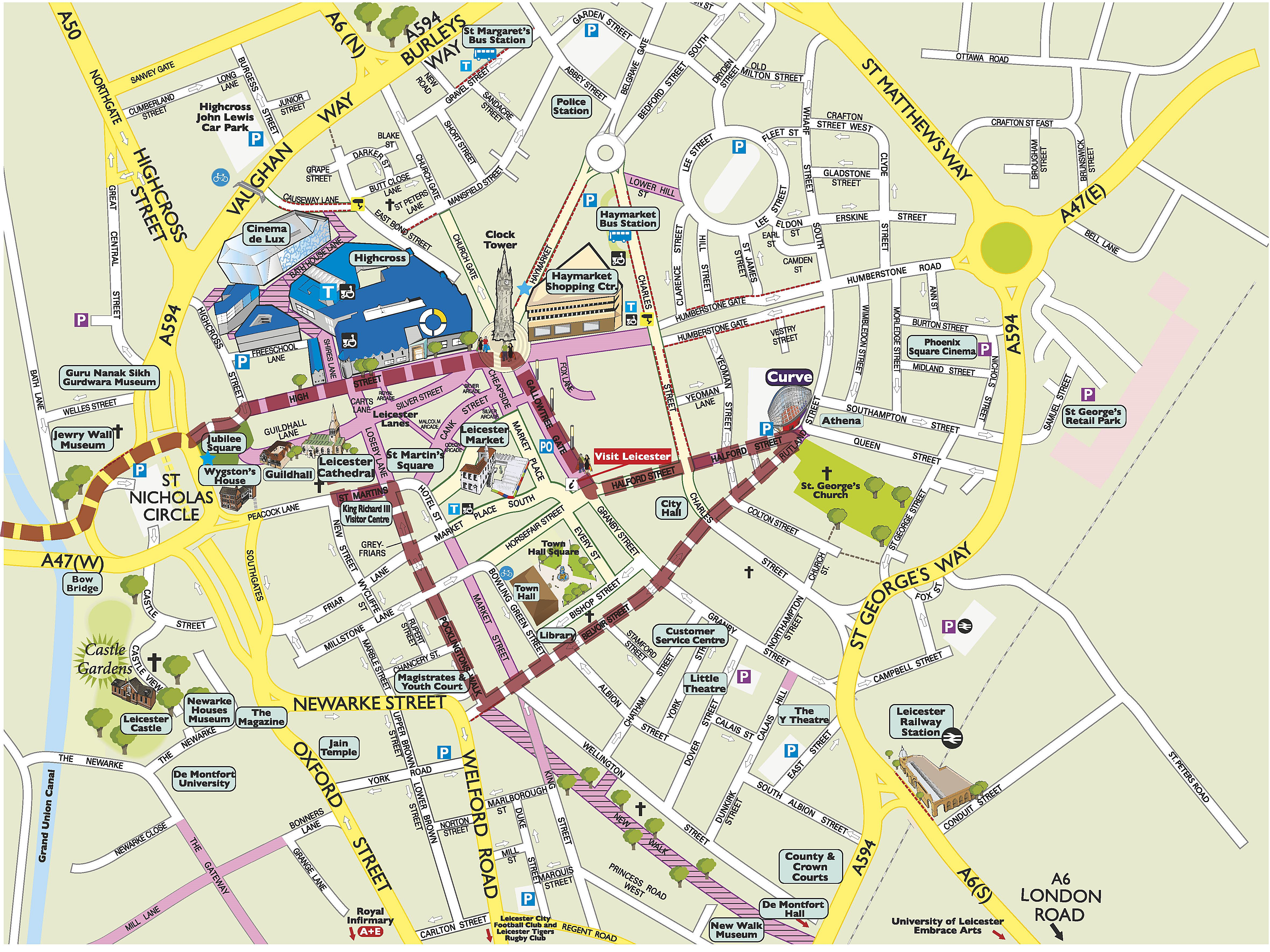 Leicester City Centre Map Large Leicester Maps for Free Download and Print | High Resolution  Leicester City Centre Map