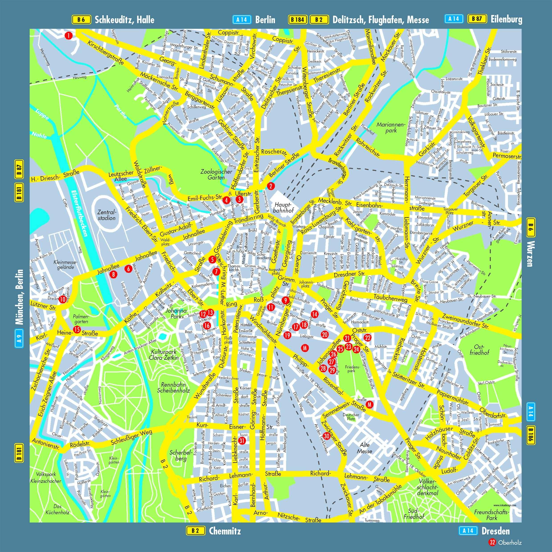 leipzig sehenswürdigkeiten karte Stadtplan von Leipzig | Detaillierte gedruckte Karten von Leipzig  leipzig sehenswürdigkeiten karte
