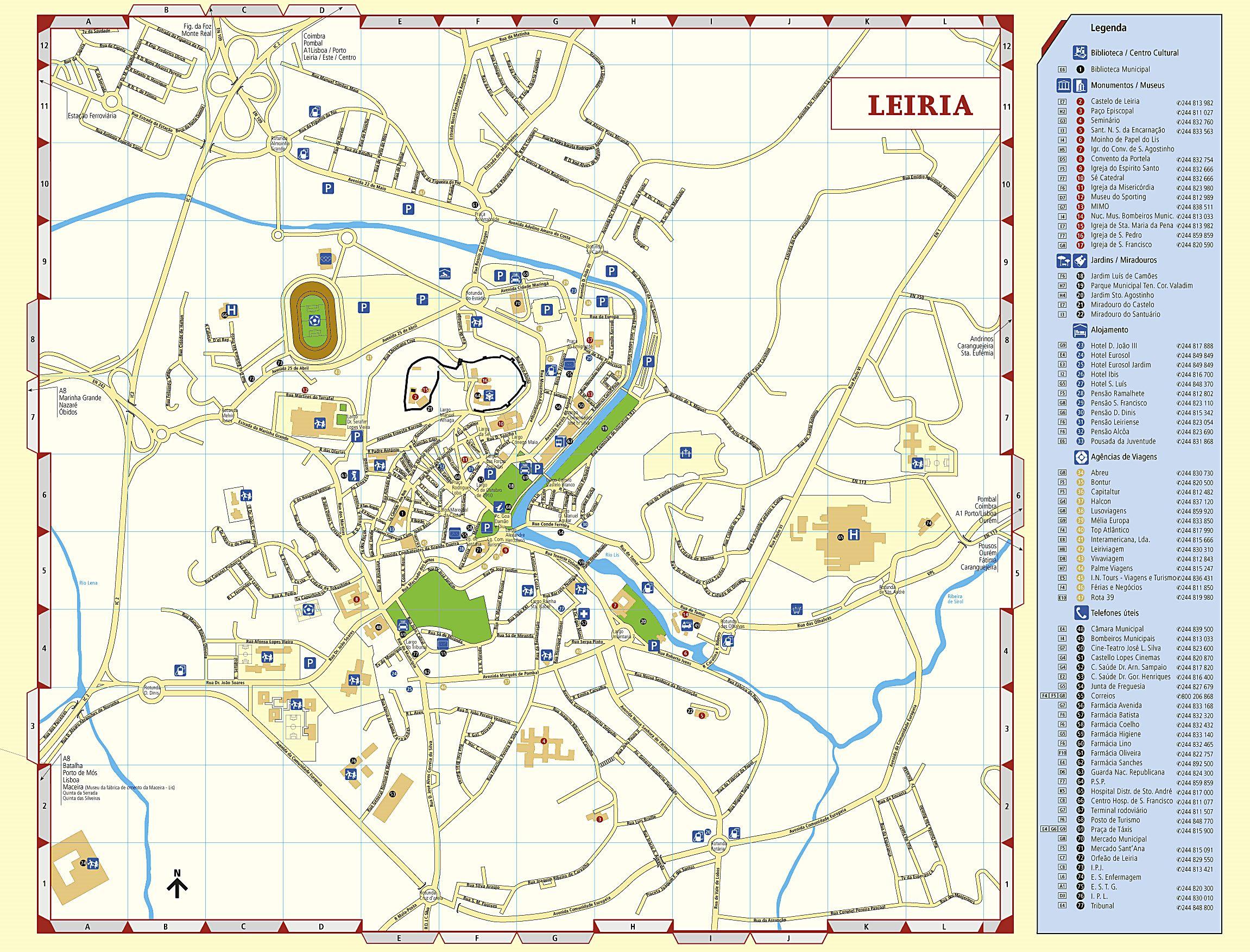 Stadtplan von Leiria | Detaillierte gedruckte Karten von ...