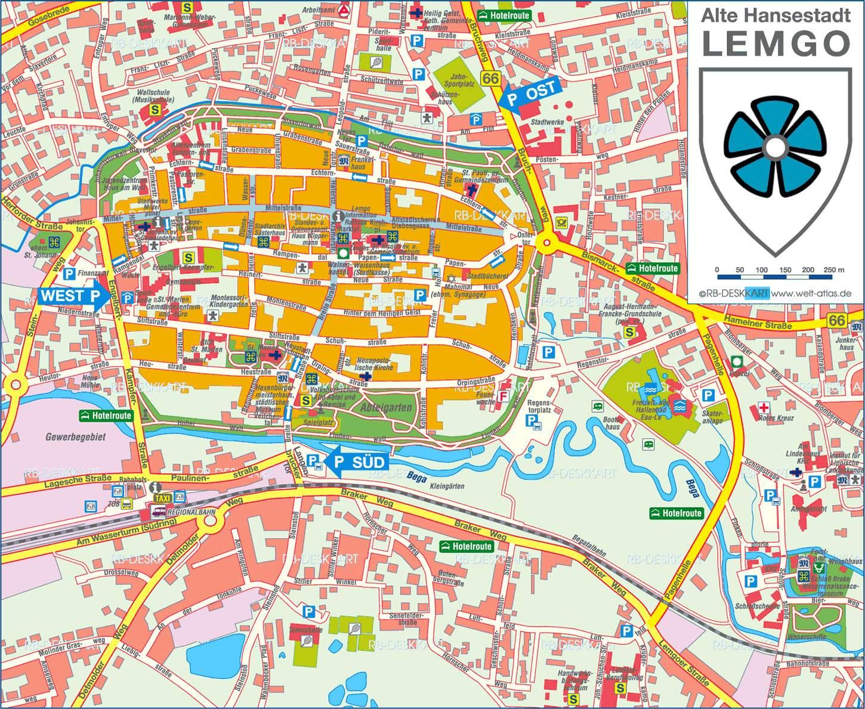 stadtplan von lemgo detaillierte gedruckte karten von lemgo deutschland der. Black Bedroom Furniture Sets. Home Design Ideas