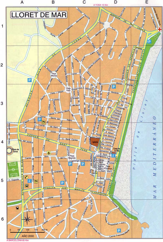 lloret de mar carte Large Lloret de Mar Maps for Free Download and Print   High