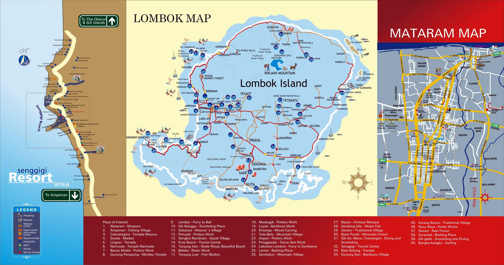 Large Lombok Island Maps for Free Download and Print High