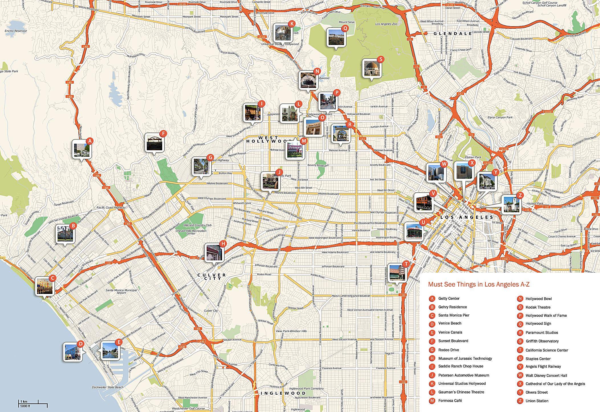 los angeles mapa Los Ángeles   plan de la ciudad | Mapas imprimidos de Los Ángeles  los angeles mapa