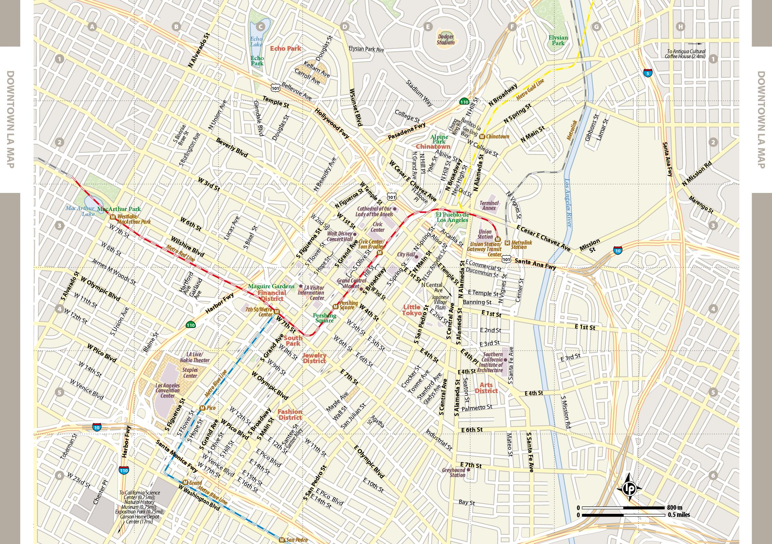 Map Of Downtown Los Angeles Large Los Angeles Maps for Free Download and Print | High