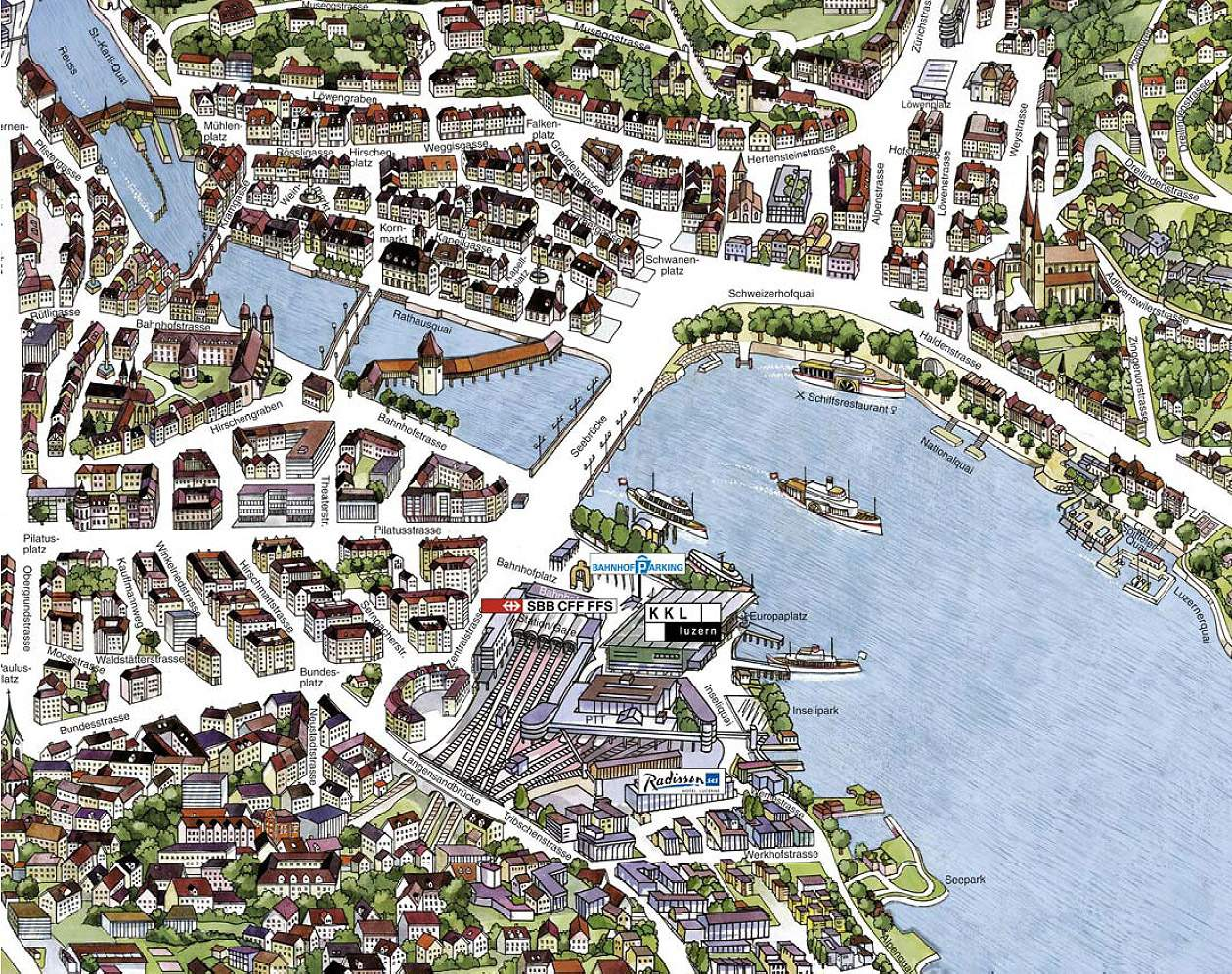 Large Luzern Maps for Free Download – Tourist Attractions Map In Switzerland