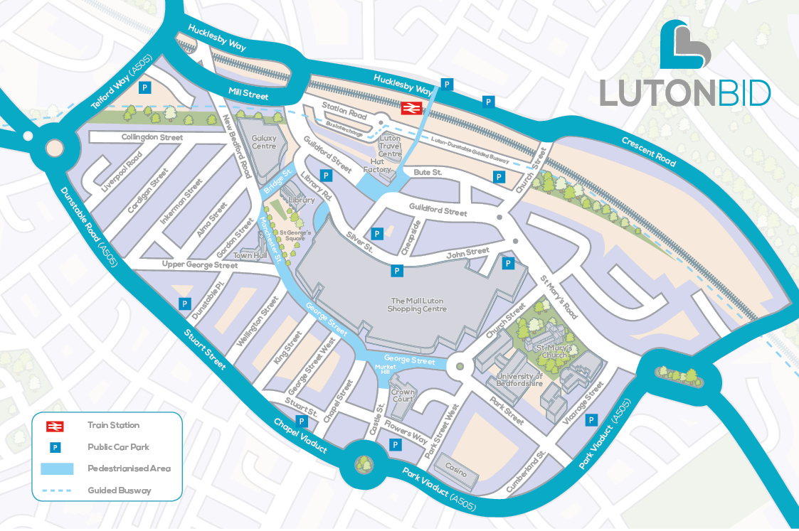 Large Luton Maps for Free Download and Print HighResolution and