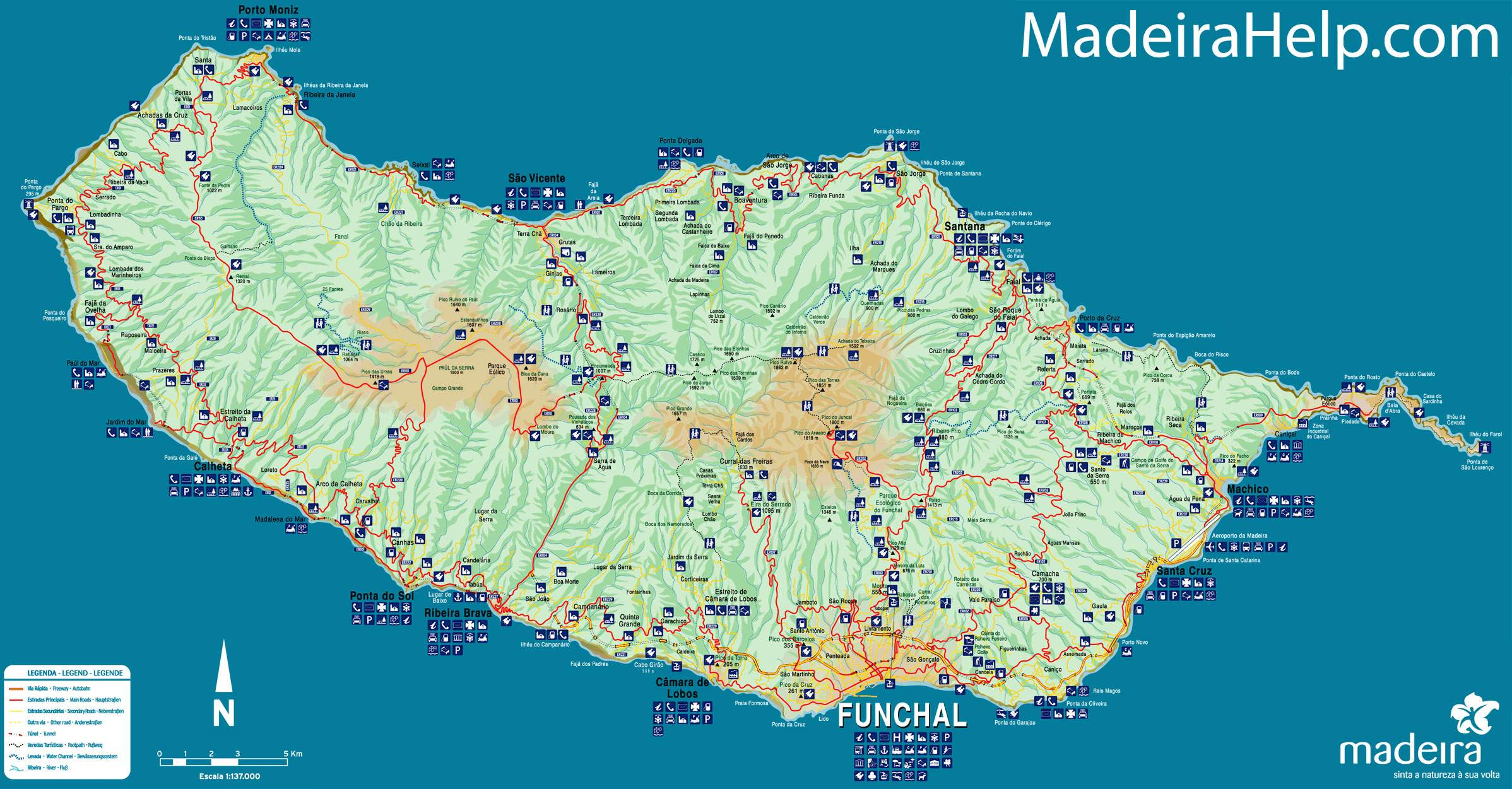 mapa madeira Large Madeira Maps for Free Download and Print | High Resolution  mapa madeira