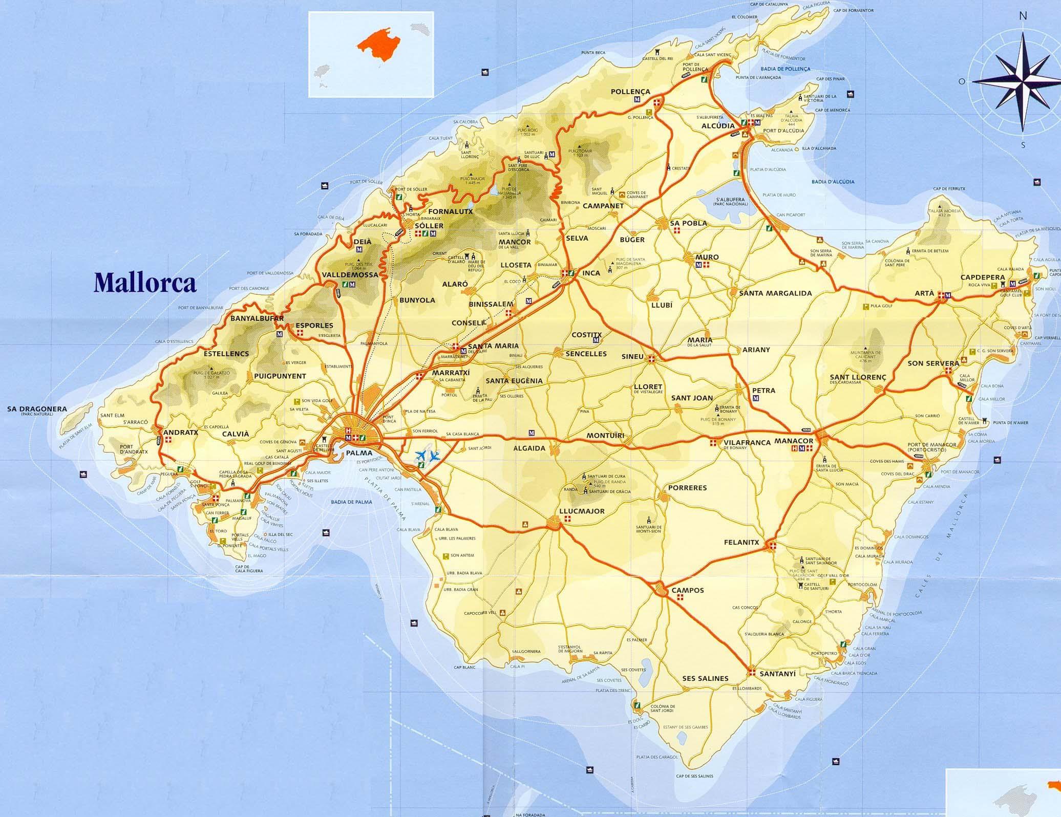 palma de maiorca mapa Large Mallorca Maps for Free Download and Print | High Resolution  palma de maiorca mapa