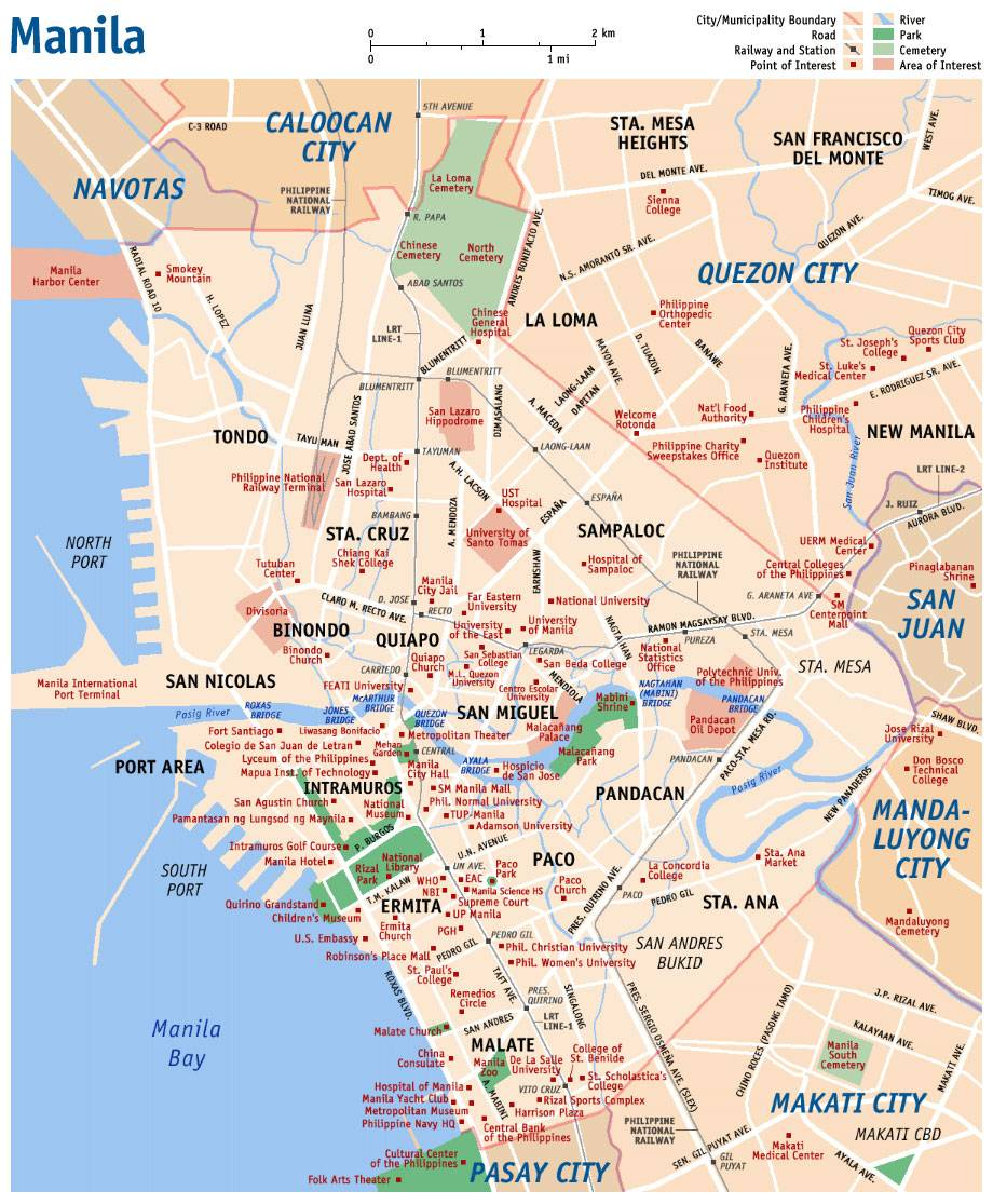 Large manila maps for free download and print high resolution and large map of manila 1 gumiabroncs Choice Image