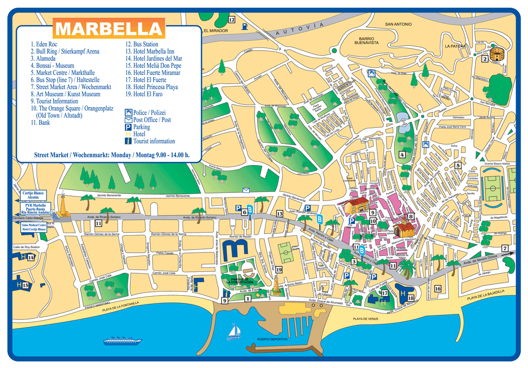 Large marbella maps for free download and print high for Oficina turismo marbella