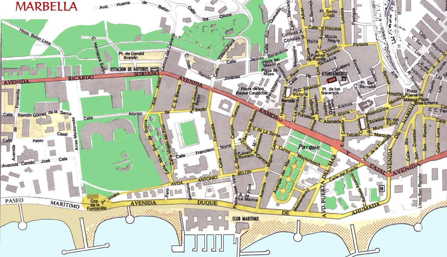 marbella mapa Large Marbella Maps for Free Download and Print | High Resolution  marbella mapa