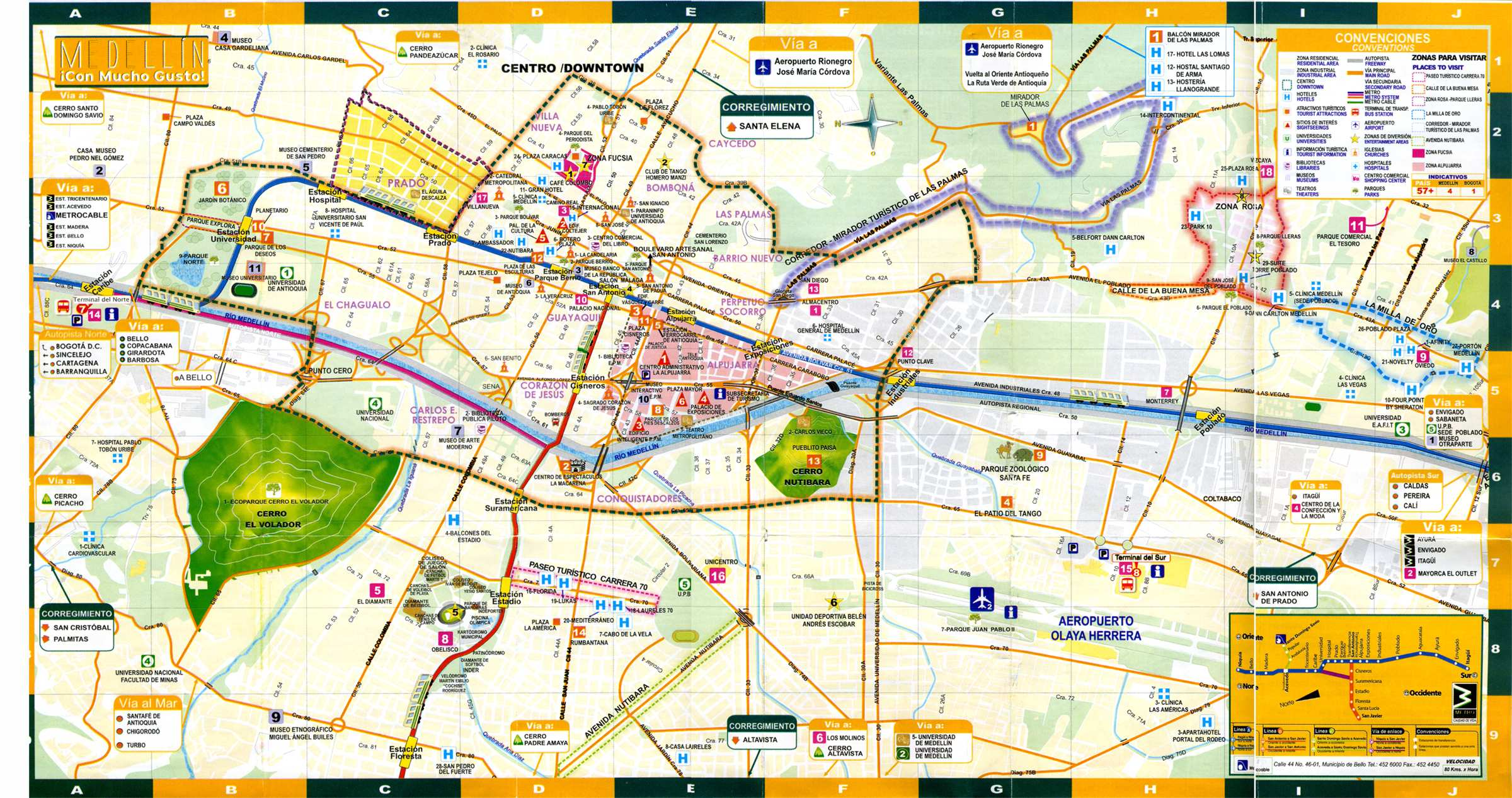 Large Medellin Maps for Free Download – Colombia Tourist Attractions Map