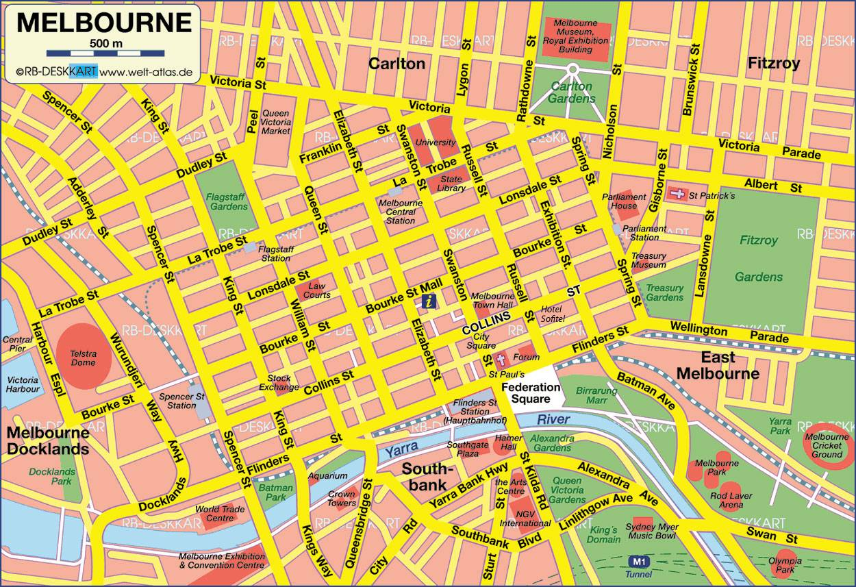 Map Melbourne Cbd Large Melbourne Maps for Free Download and Print | High Resolution