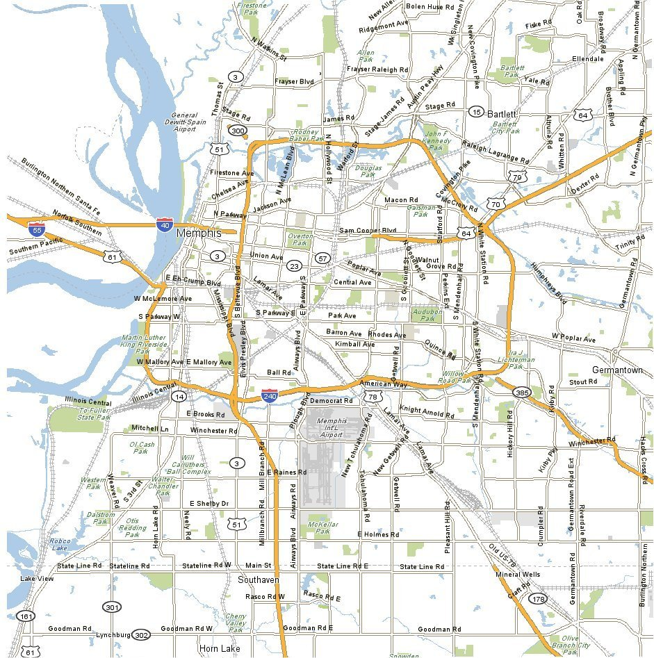 Map Of Memphis Tennessee Large Memphis Maps for Free Download and Print | High Resolution
