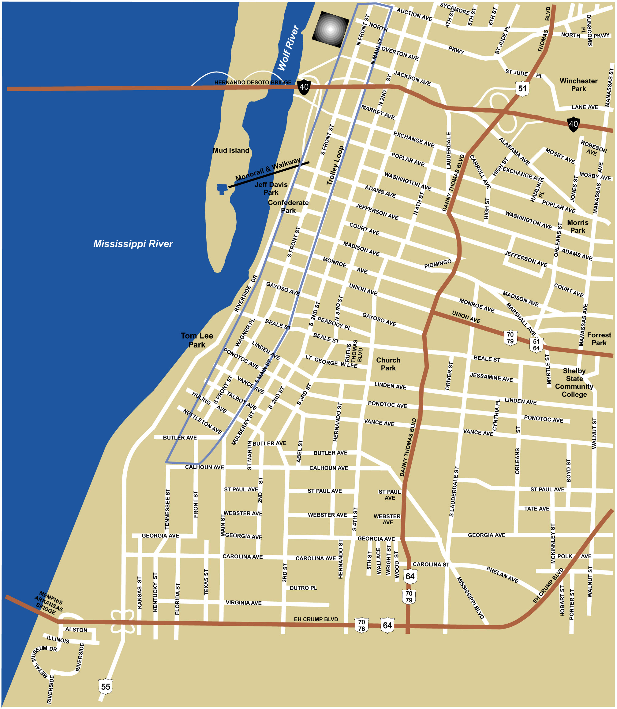 Map Of Memphis Large Memphis Maps for Free Download and Print | High Resolution  Map Of Memphis