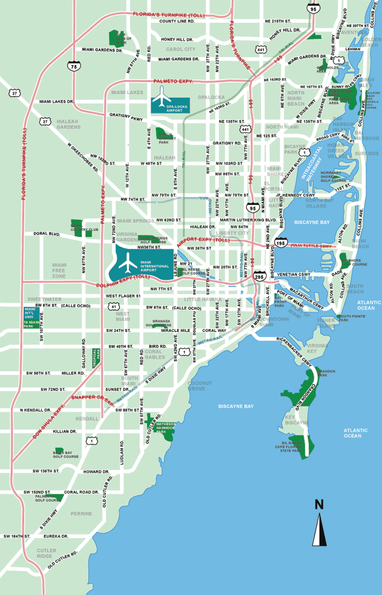 Large Miami Maps for Free Download and Print | High-Resolution and ...
