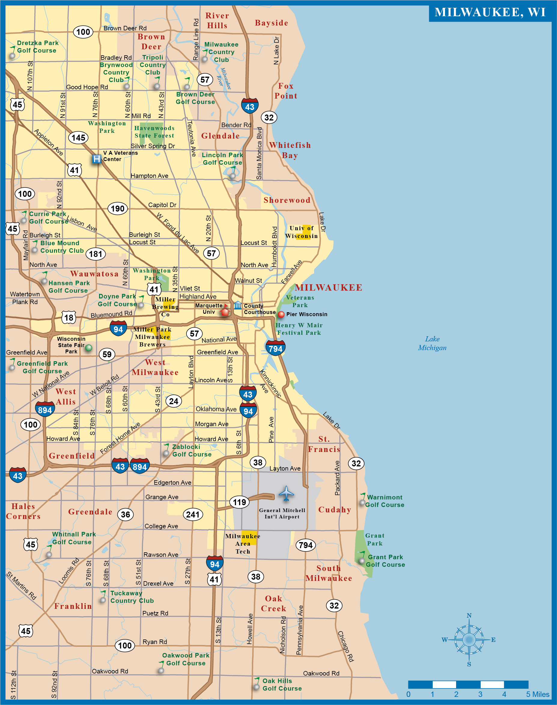 Map Of Milwaukee Large Milwaukee Maps for Free Download and Print | High Resolution  Map Of Milwaukee