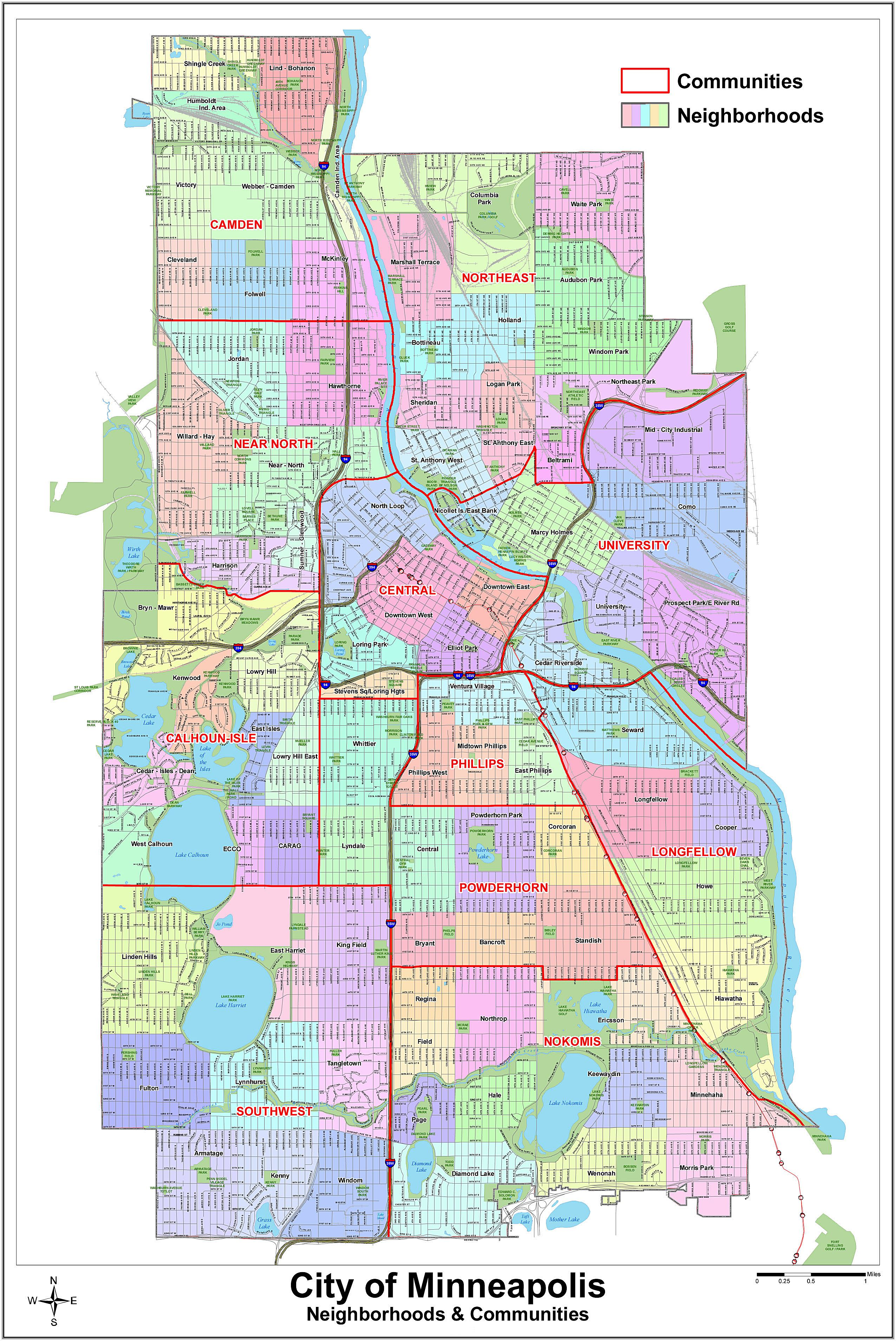 Large Minneapolis Maps for Free Download and Print HighResolution