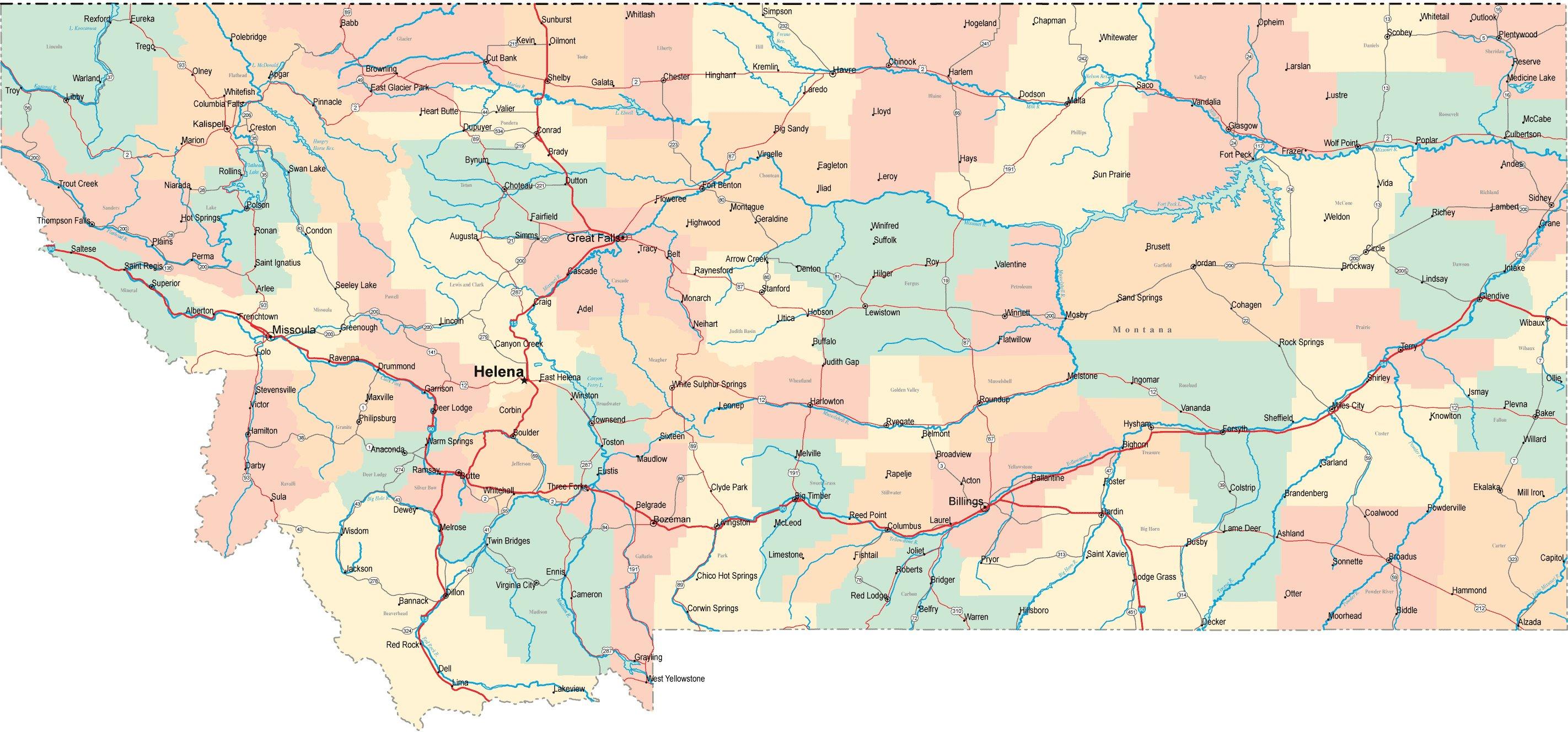 Podrobnye Karty Montany Detalnye Pechatnye Karty Montany