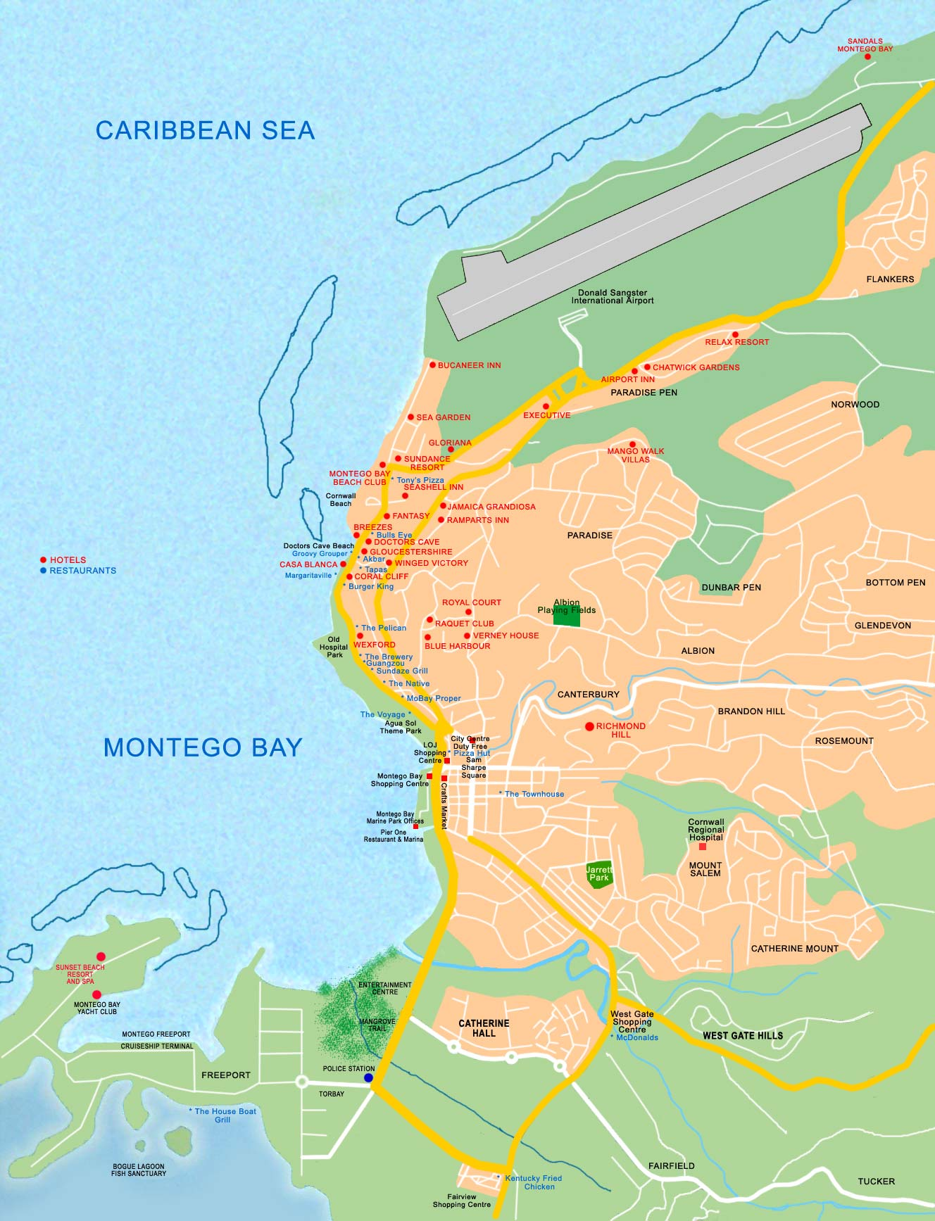 Map Of Montego Bay Resorts