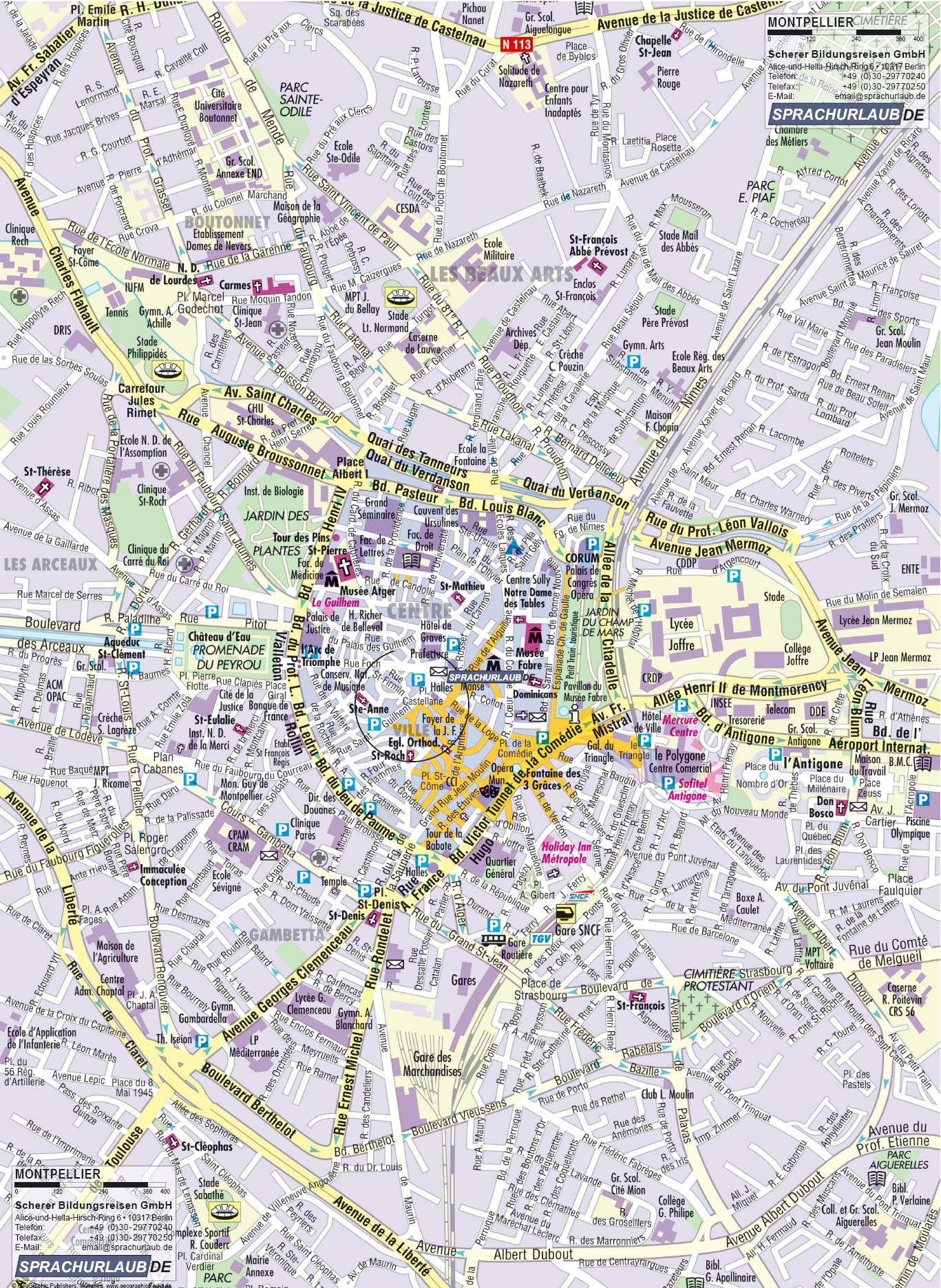 Large Montpellier Maps for Free Download and Print High