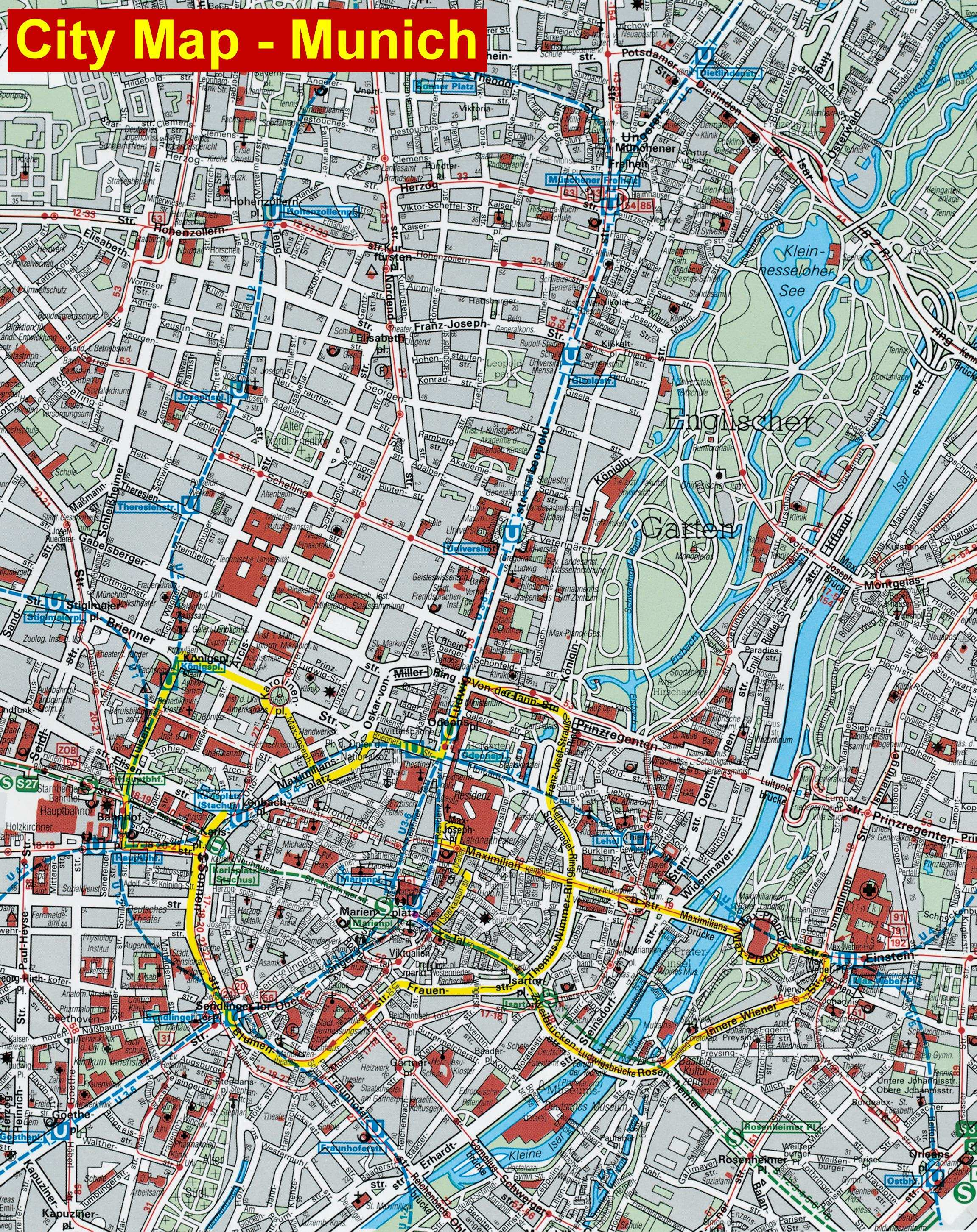 Large Munich Maps for Free Download | High-Resolution and Detailed ... Munich Map