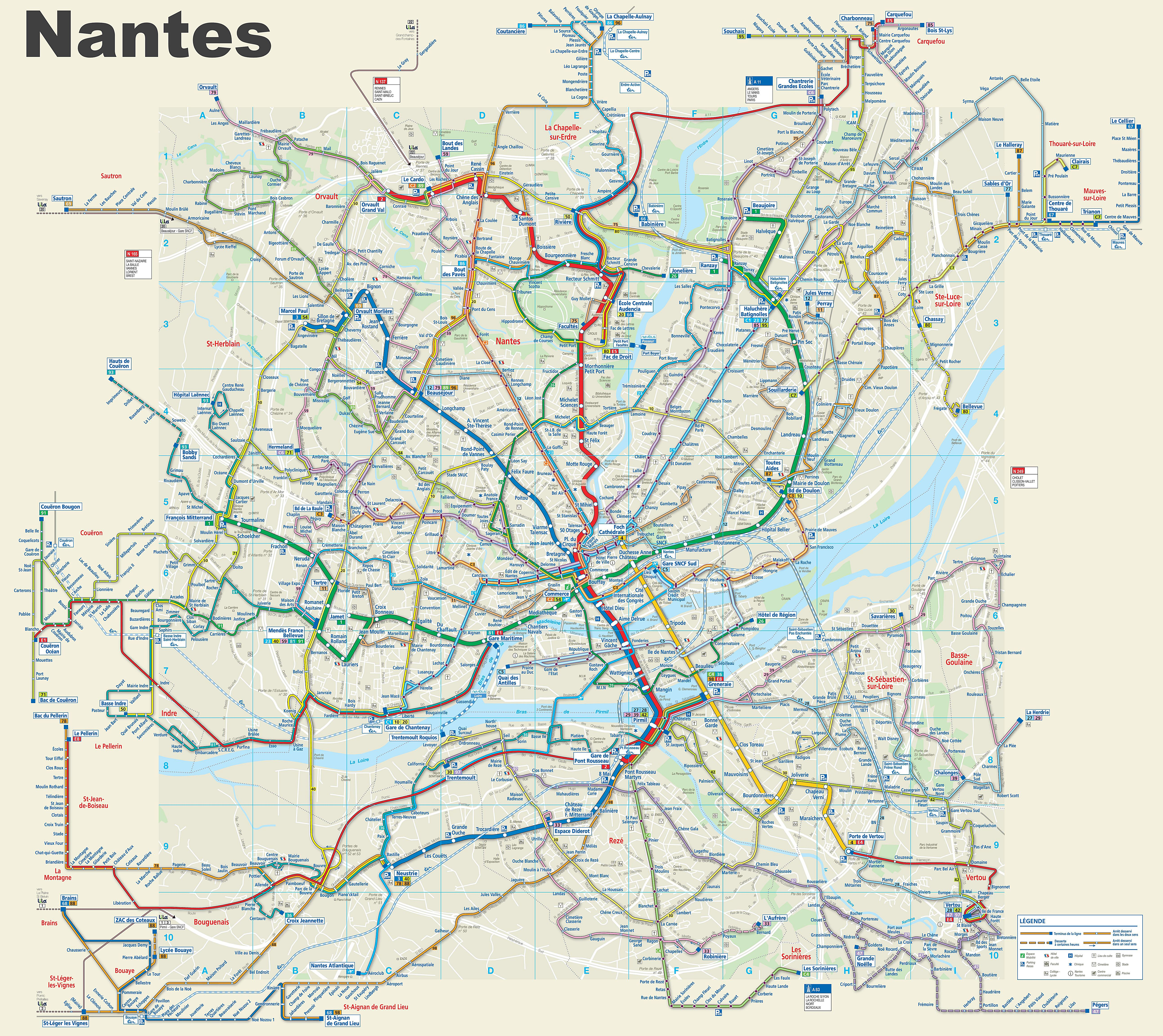 Large Nantes Maps for Free Download and Print HighResolution and