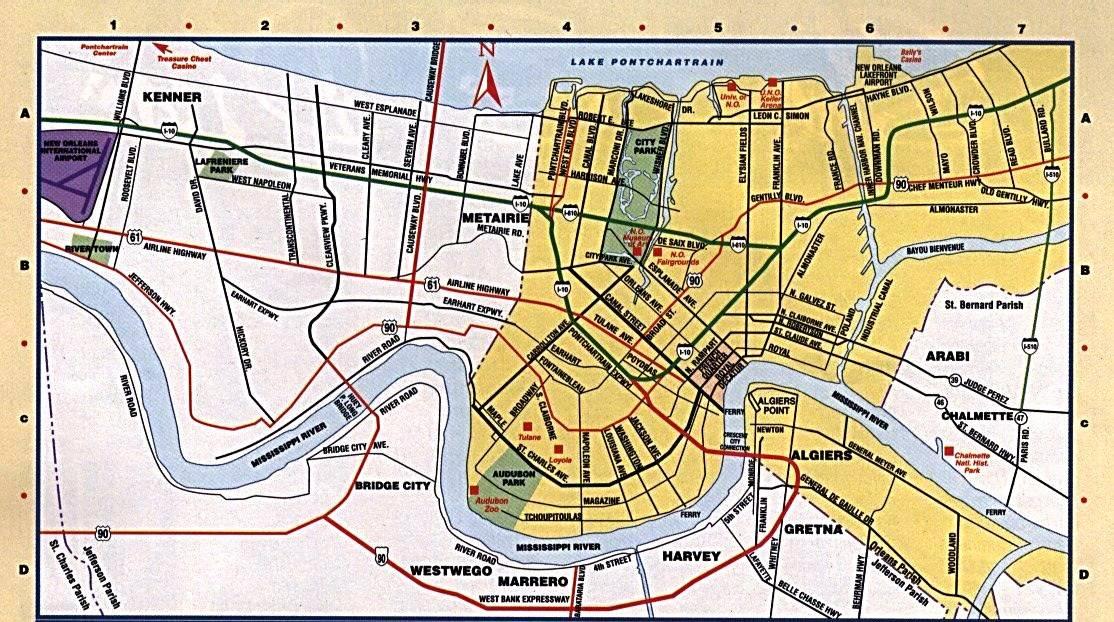 graphic relating to Printable Maps of New Orleans named Higher Fresh new Orleans Maps for Cost-free Down load and Print Substantial