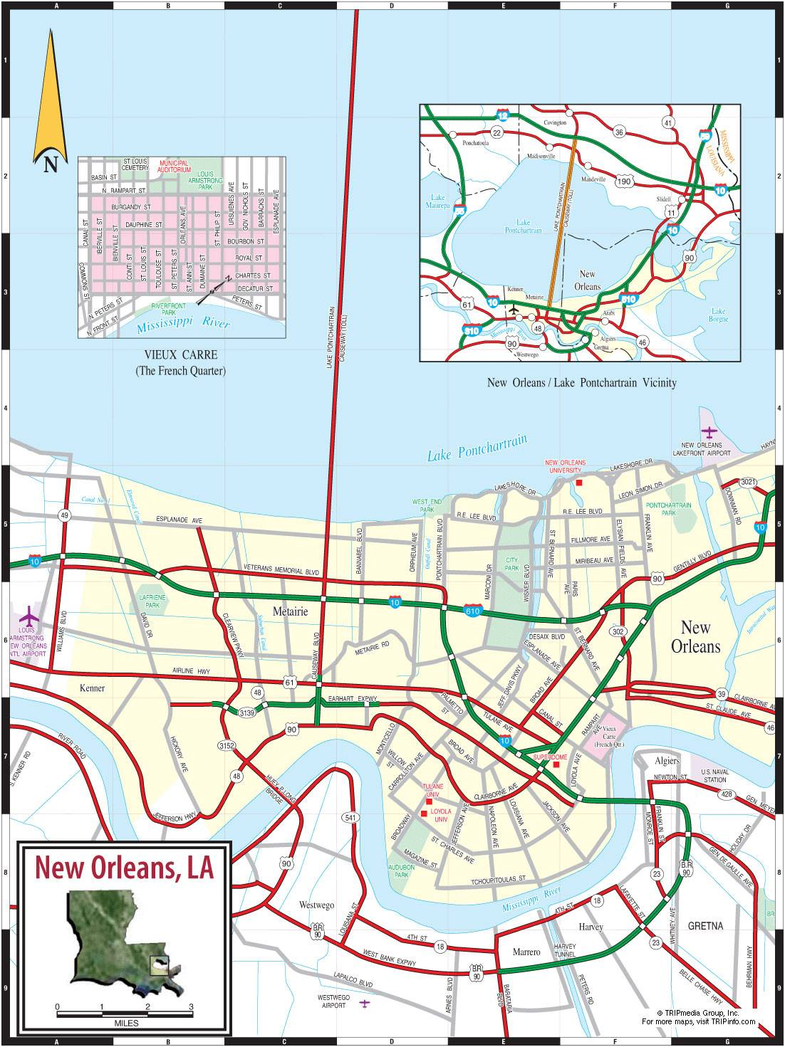 Large New Orleans Maps for Free Download and Print | High-Resolution on