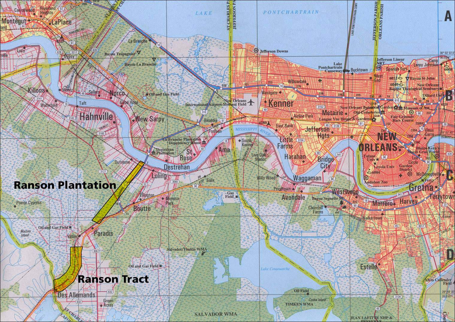 Large New Orleans Maps For Free Download And Print High - New orleans in map of usa