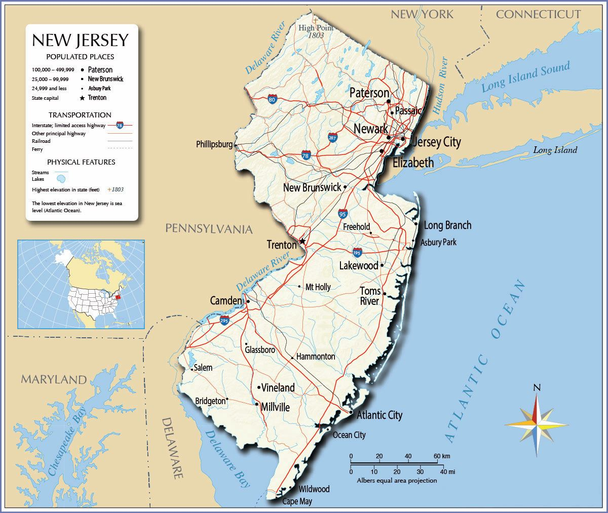 Large New Jersey State Maps for Free Download and Print High