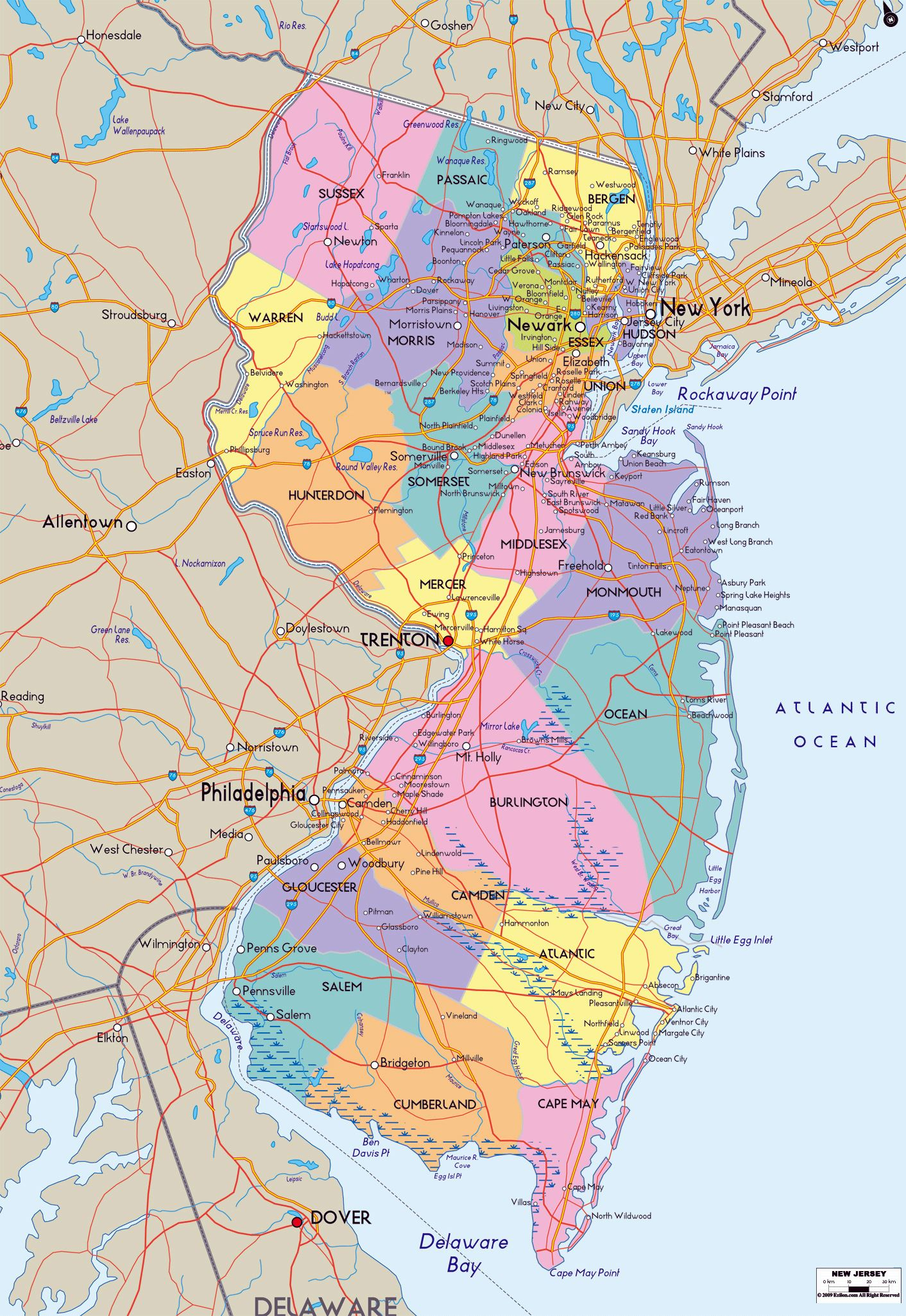 graphic regarding Printable Map of Nj called Huge Contemporary Jersey Place Maps for Free of charge Down load and Print