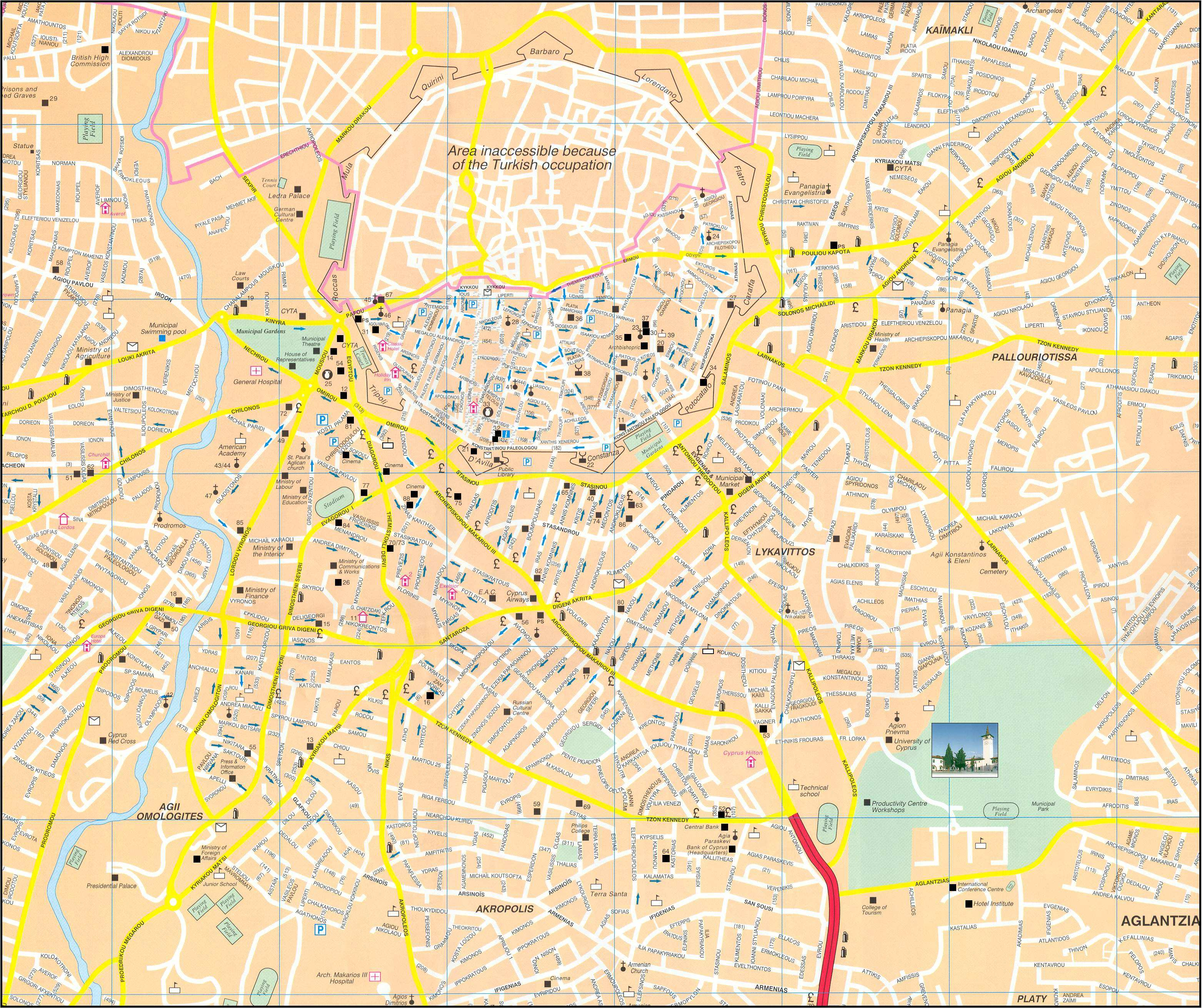 Large Nicosia Maps for Free Download and Print HighResolution and
