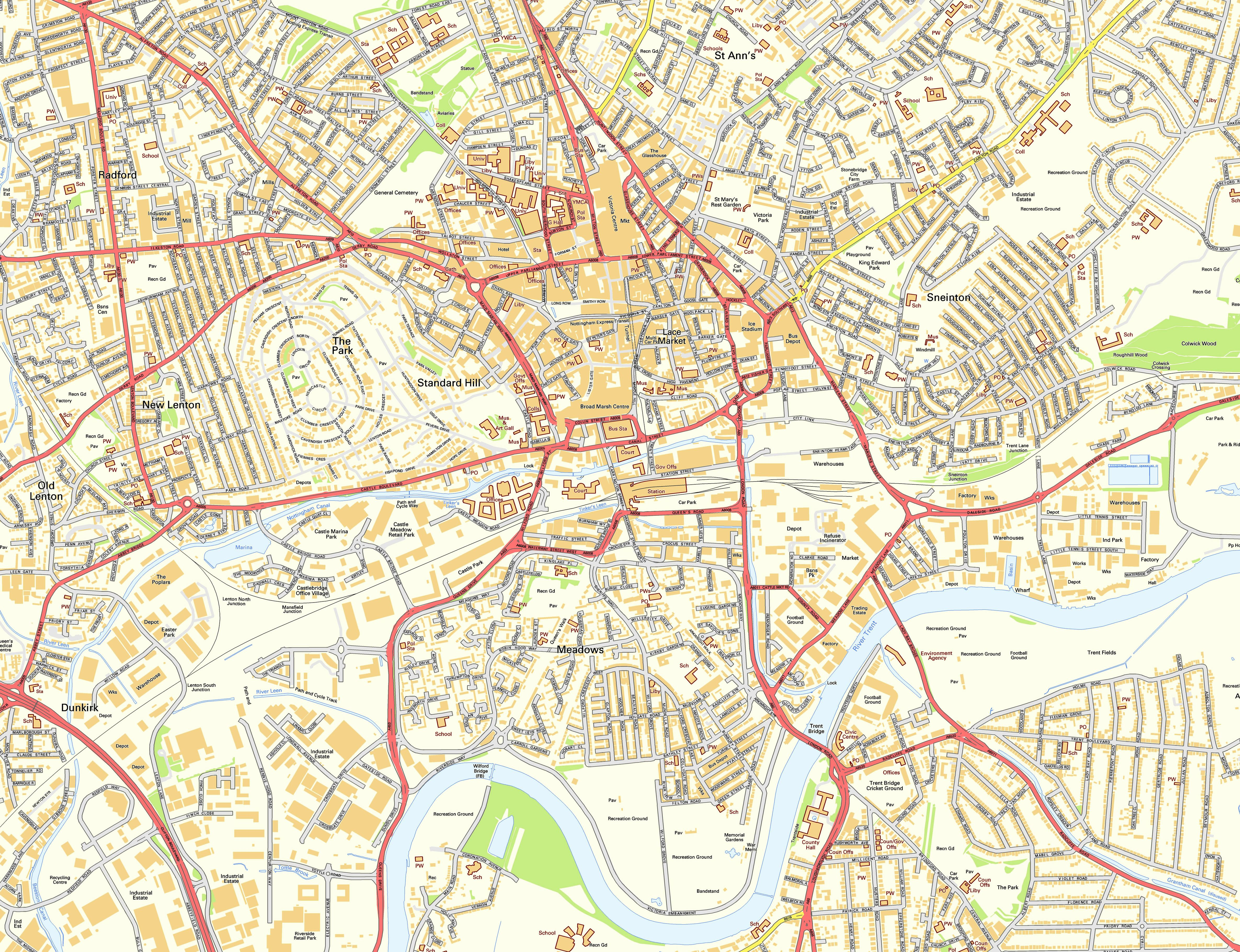 Large Nottingham Maps for Free Download and Print HighResolution