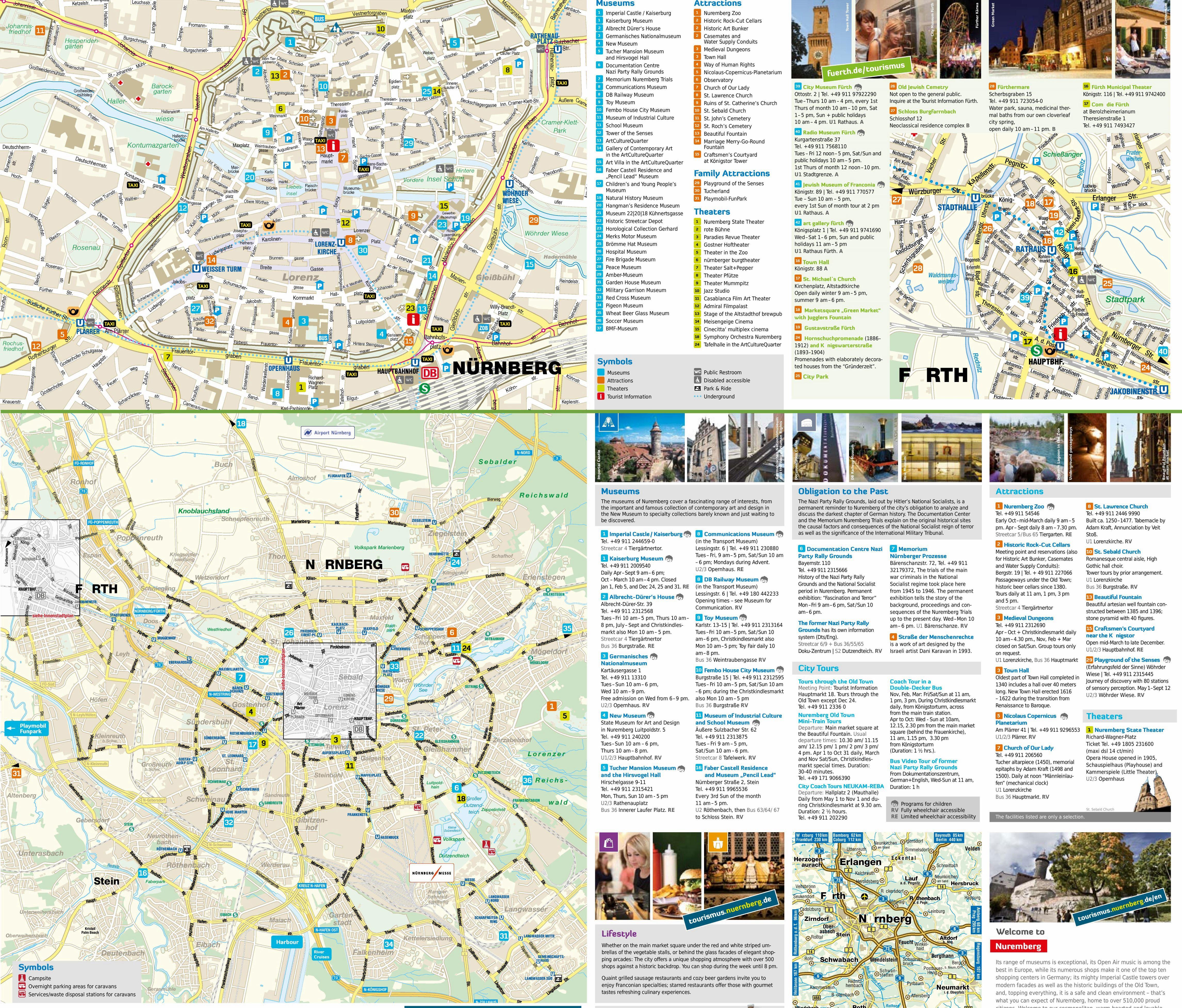 Detaillierter, beidseitig bedruckter Stadtplan mit Adressen und Angaben zu Sehenswürdigkeiten. Die zweite Karte zeigt den Ort Fürth, definitiv einen Ausflug wert.